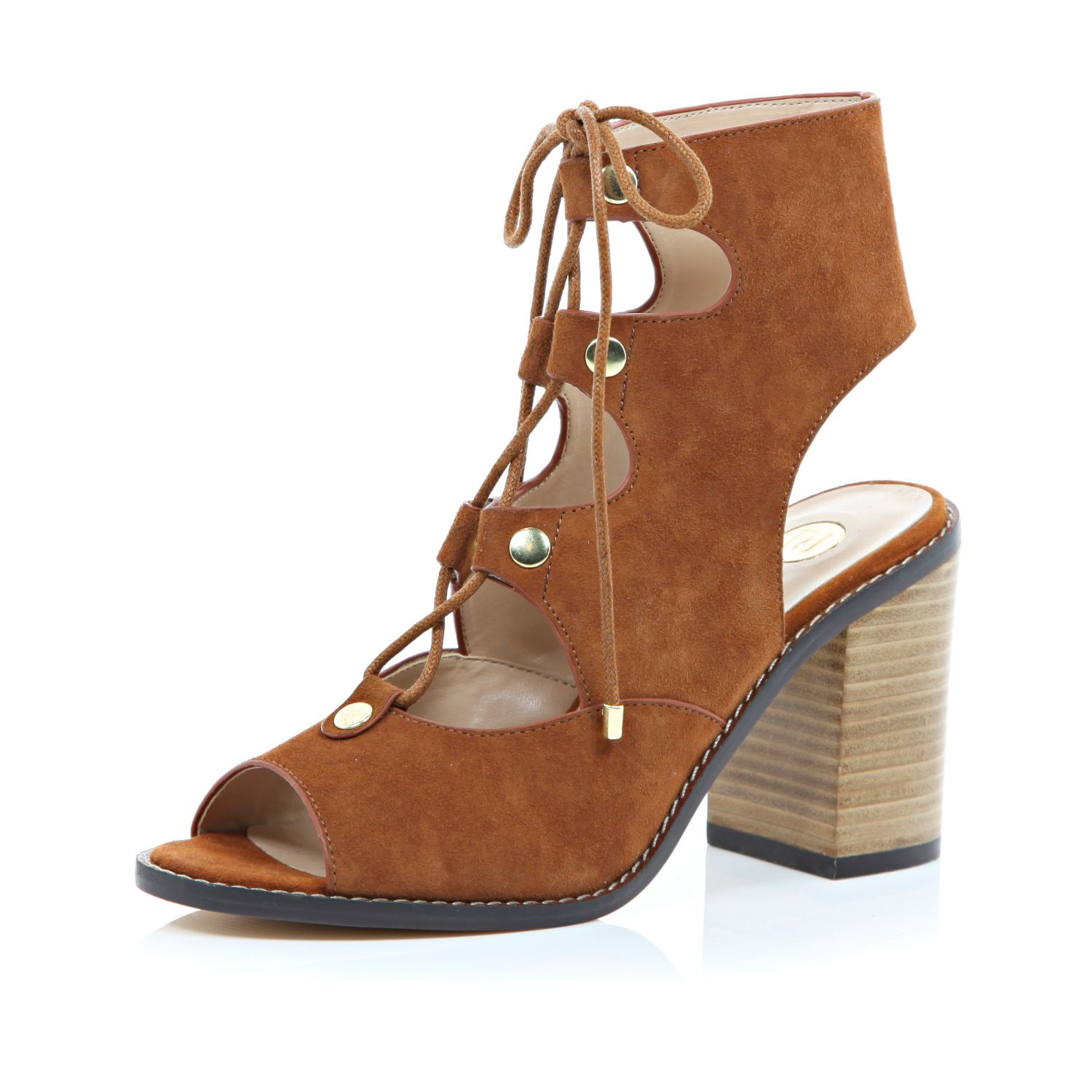 b5716dec2a0 River Island Tan Suede Ghillie Lace Up Heeled Sandals in Brown - Lyst