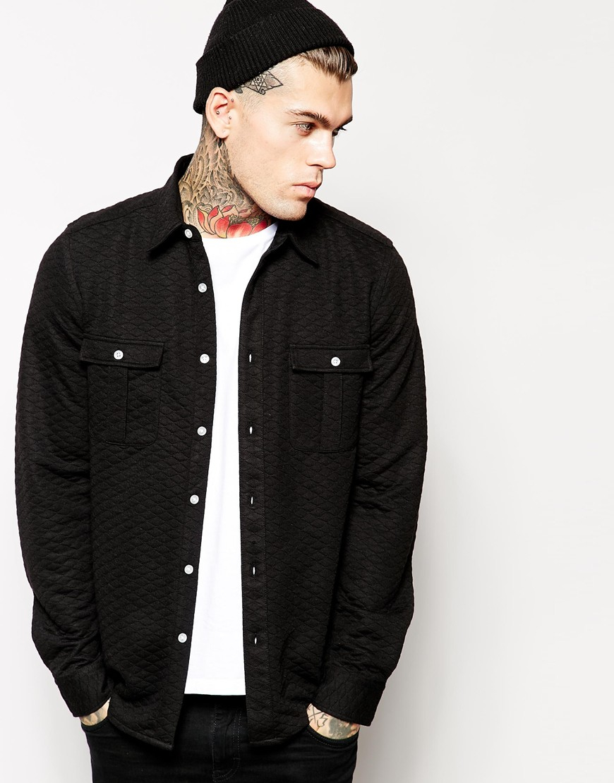Asos Overshirt In Long Sleeve With Quilting in Black for Men | Lyst