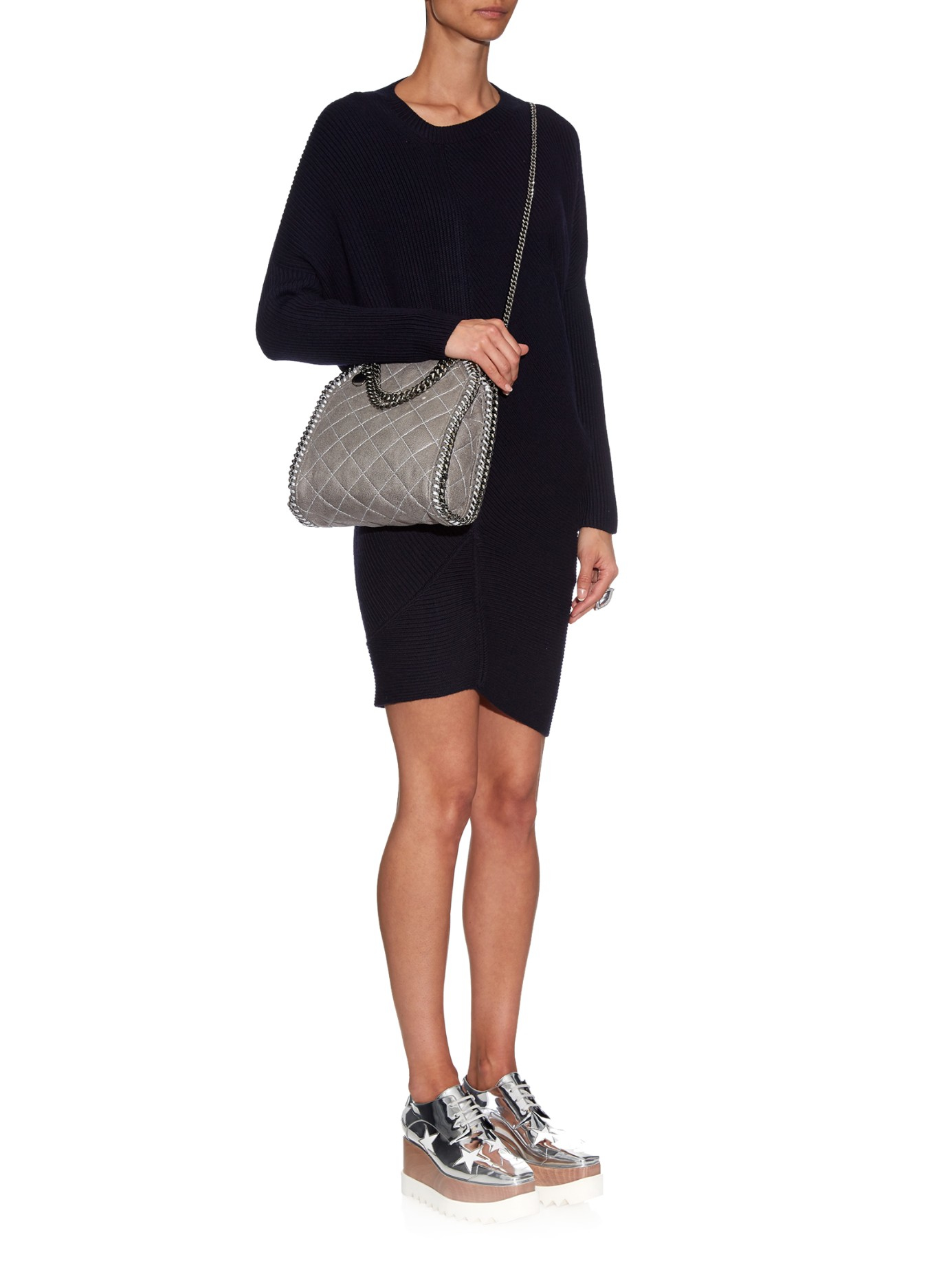 Lyst - Stella McCartney Falabella Small Quilted Cross-Body Bag in Gray 2b990057bd73c
