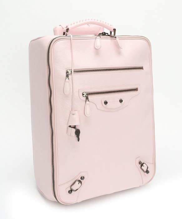 Balenciaga Pink Leather Trolley Rolling Carry-On Suitcase in Pink ...