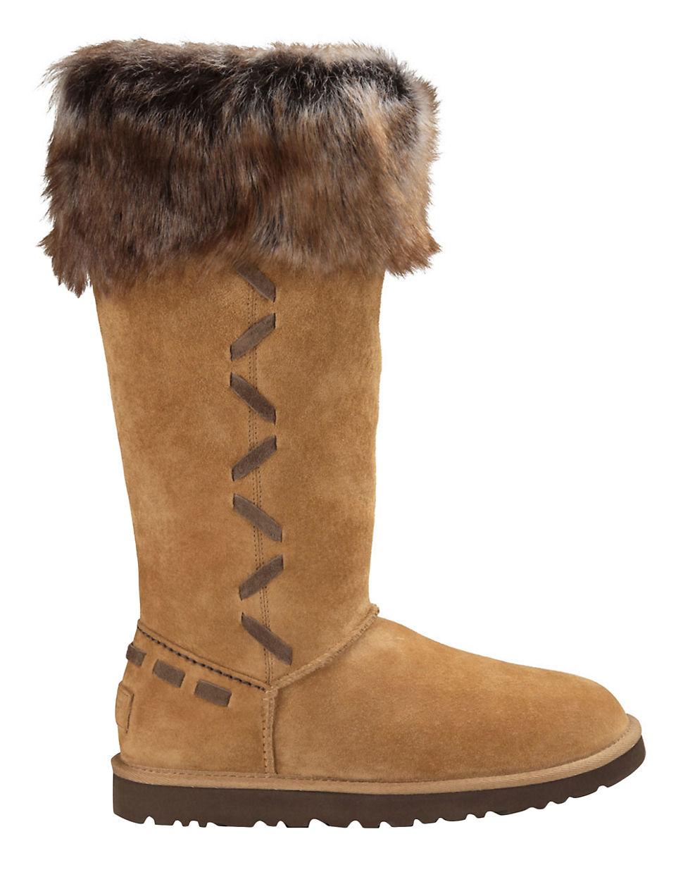 ugg rosana sheepskin boots in brown lyst
