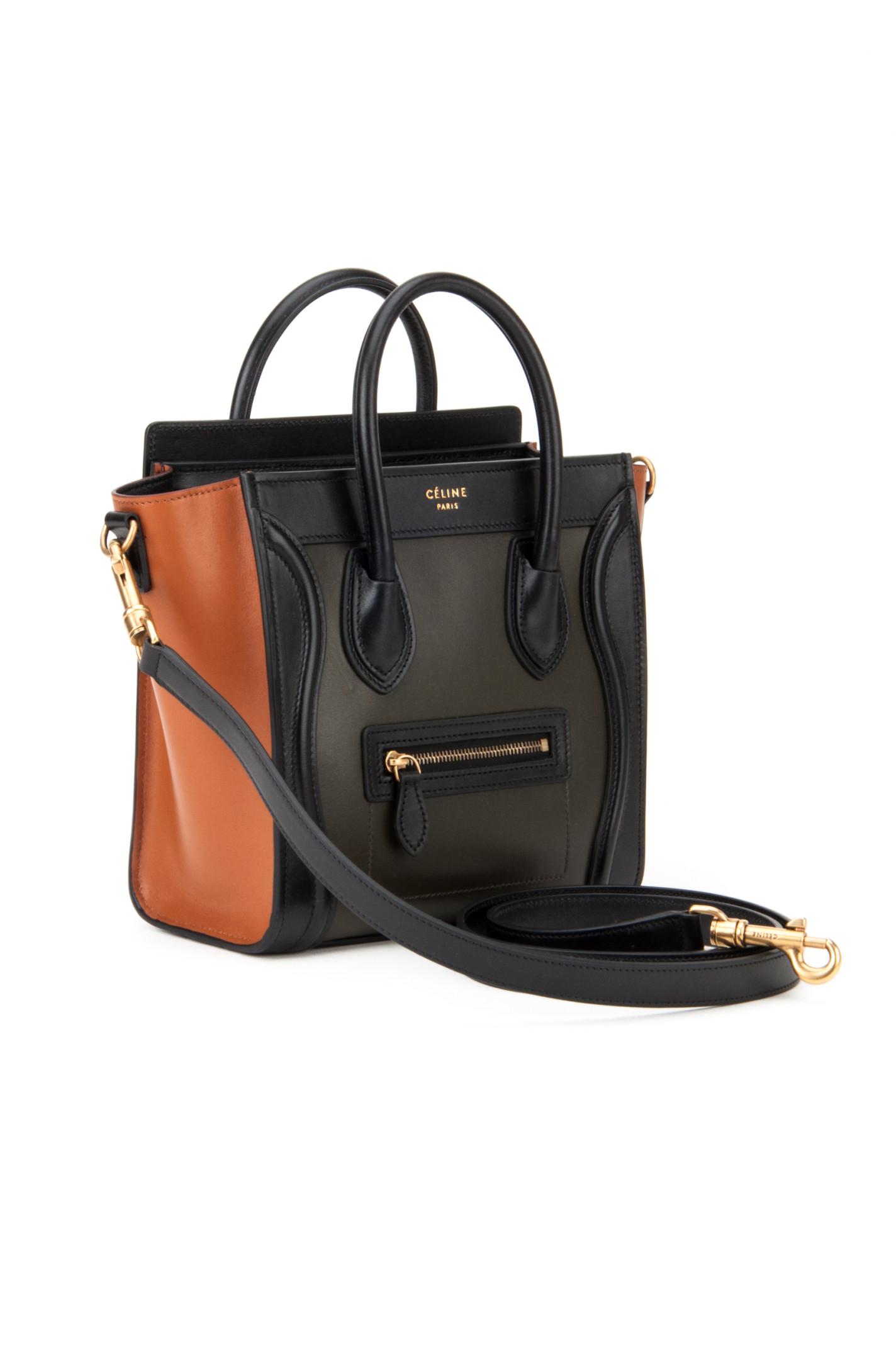 C¨¦line Luggage Nano Bag in Khaki | Lyst