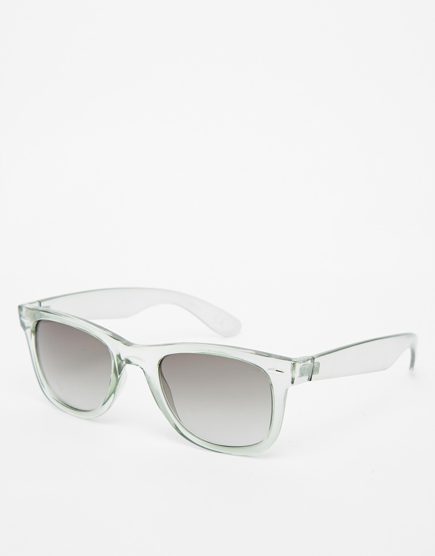 Clear Framed Sunglasses  asos wayfarer sunglasses in green with clear frame in gray for men