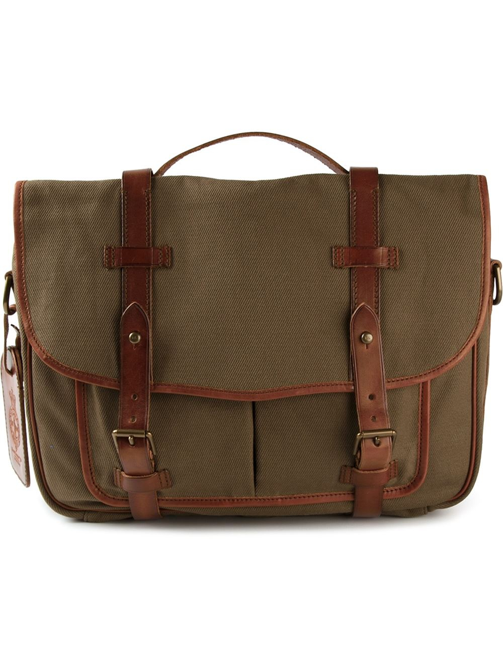 65e6bb9ac053 Lyst - Polo Ralph Lauren Leather Trim Messenger Bag in Green for Men