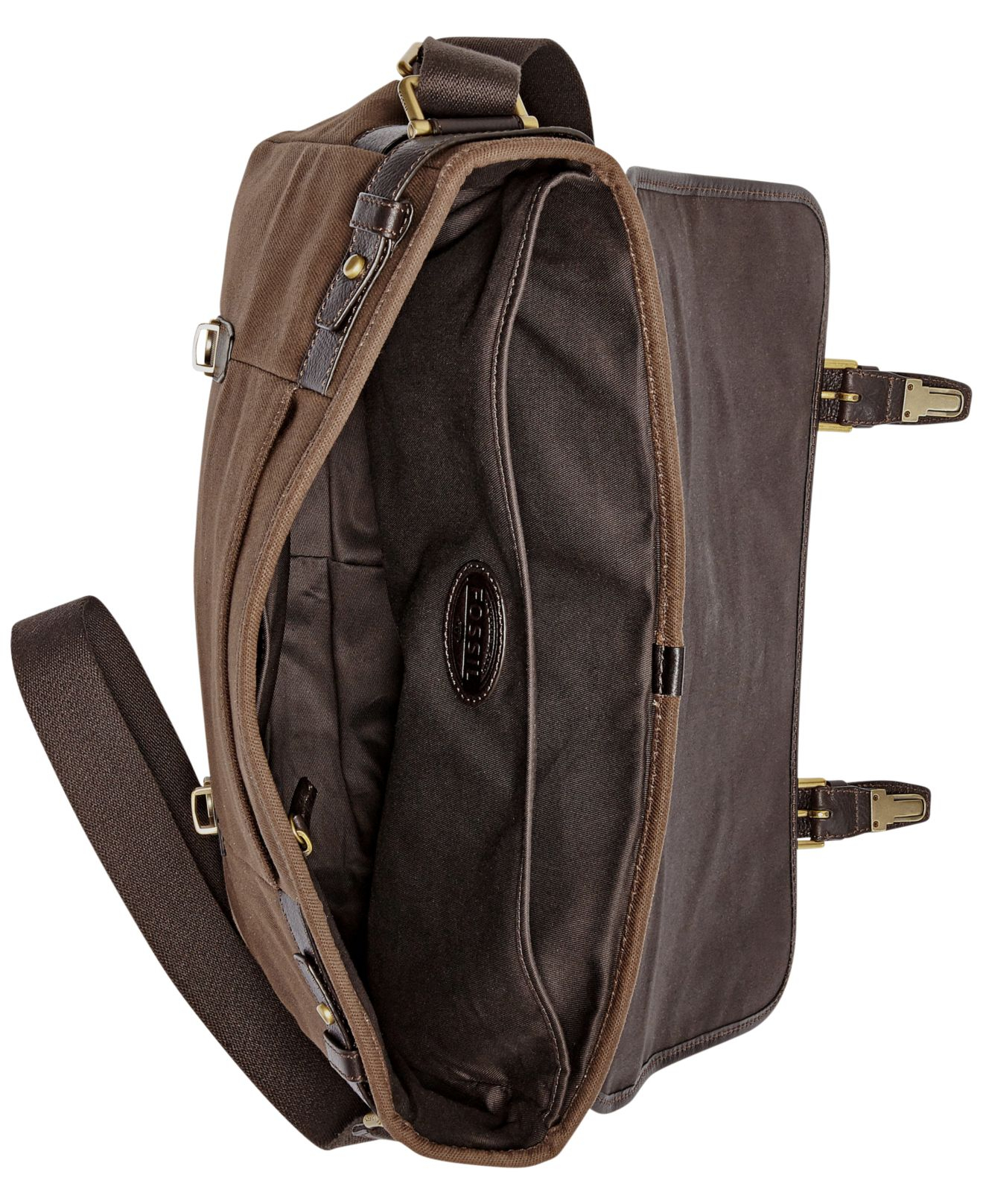 ff297c5068 Fossil Estate East West Calvary Twill Messenger Bag in Brown for Men ...