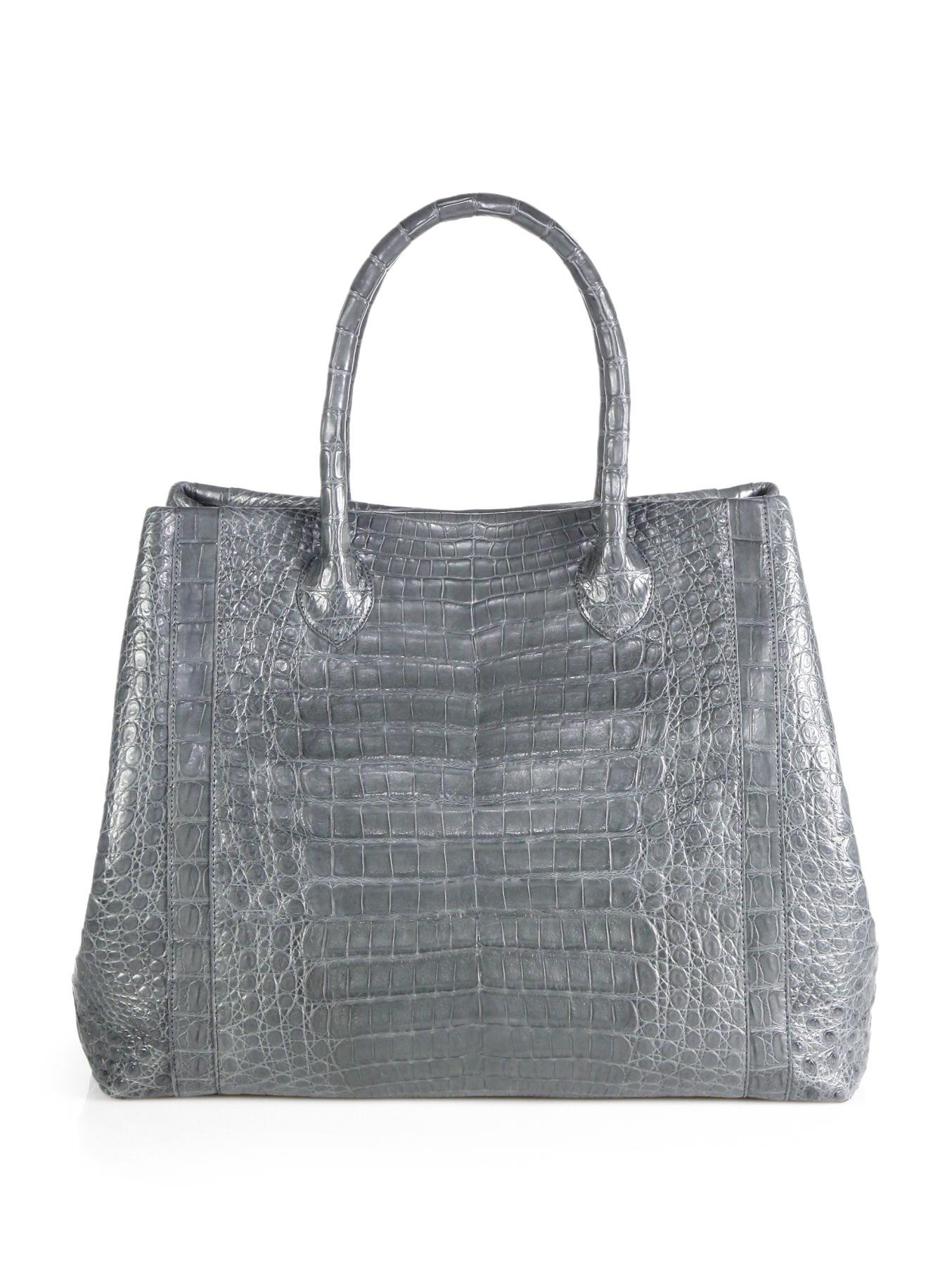 Nancy gonzalez large convertible crocodile tote in gray for Nancy gonzalez crocodile tote