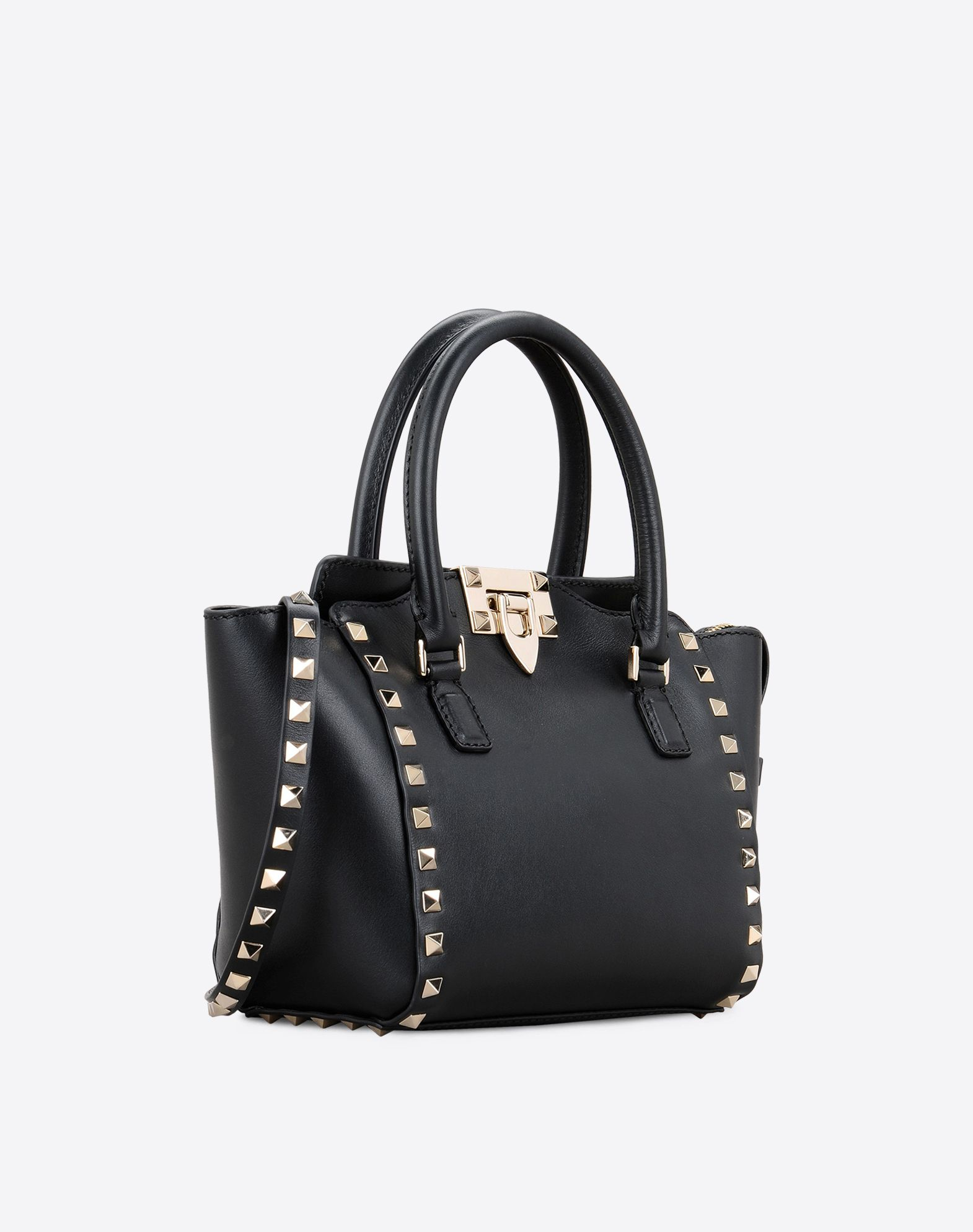 Valentino Rockstud Small Double Handle Bag In Black Lyst