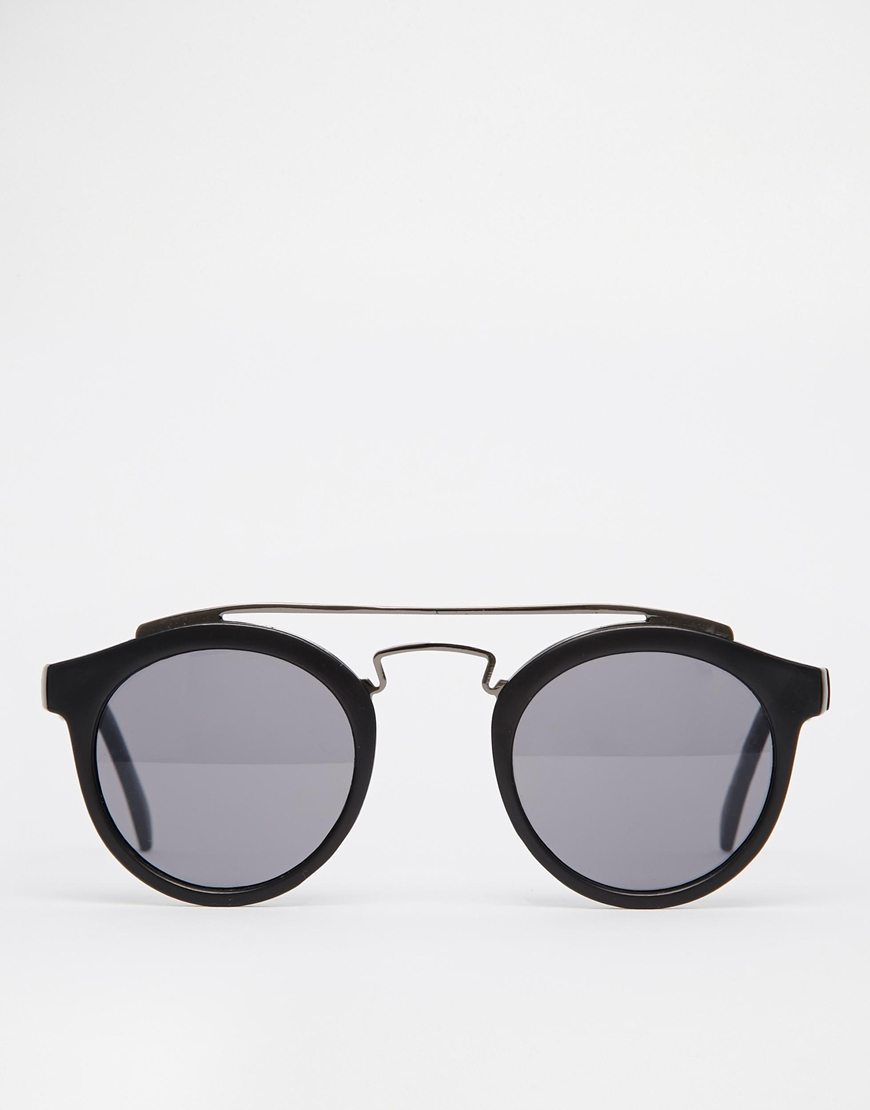 Brow Bar Sunglasses  asos round sunglasses with metal brow bar in black for men lyst