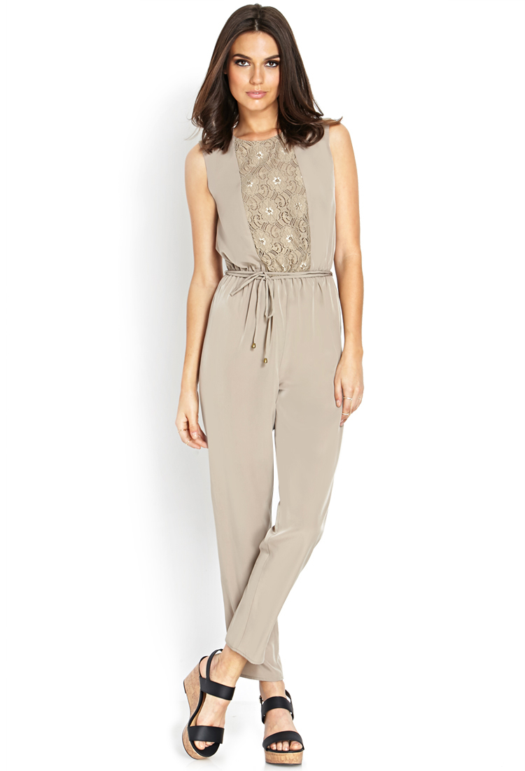d44cea1b32e4 Forever 21 Contemporary Woven Tie-back Jumpsuit In Gray