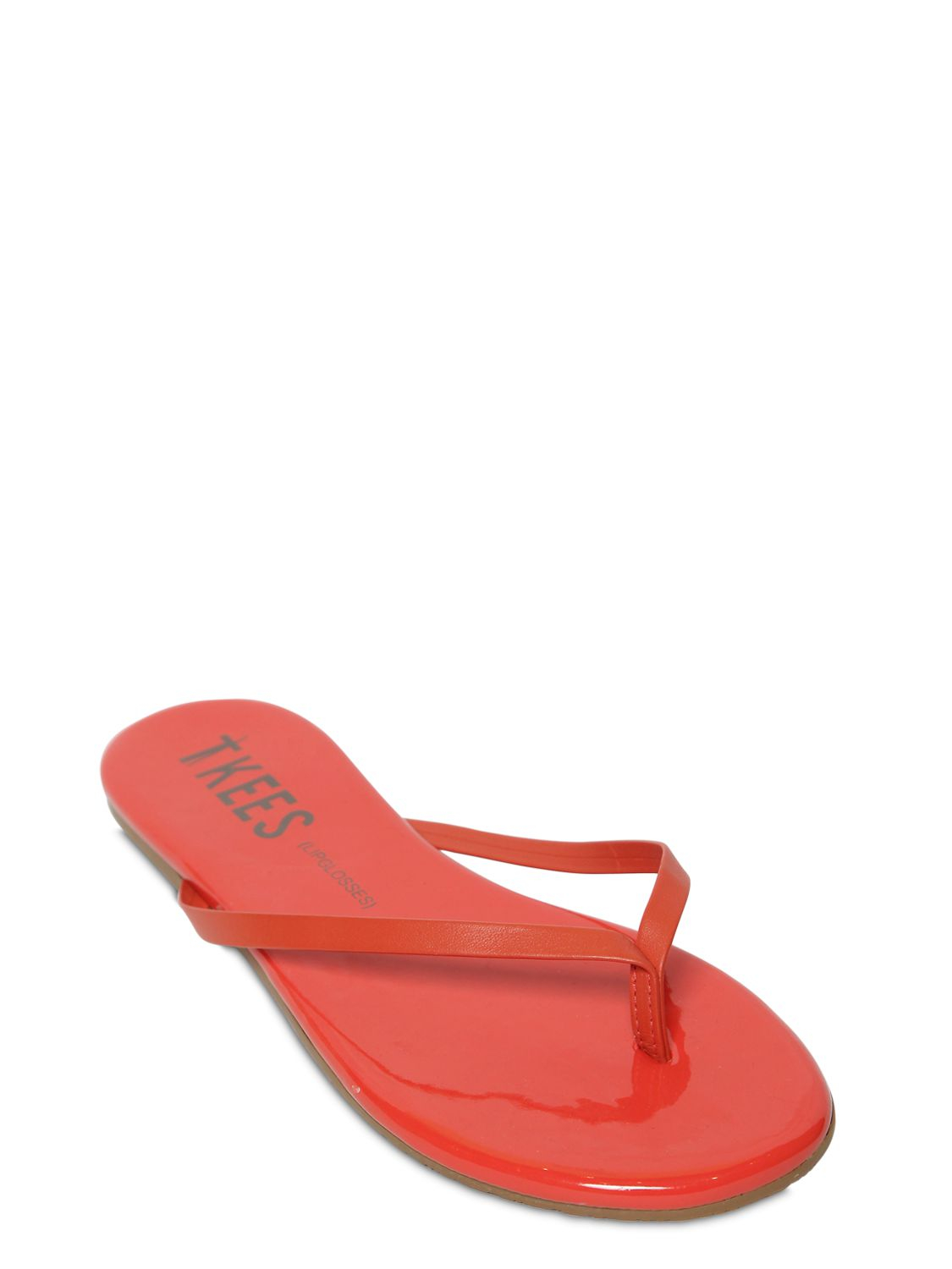 431347cb1 Lyst - TKEES Patent Leather Flip Flops in Red