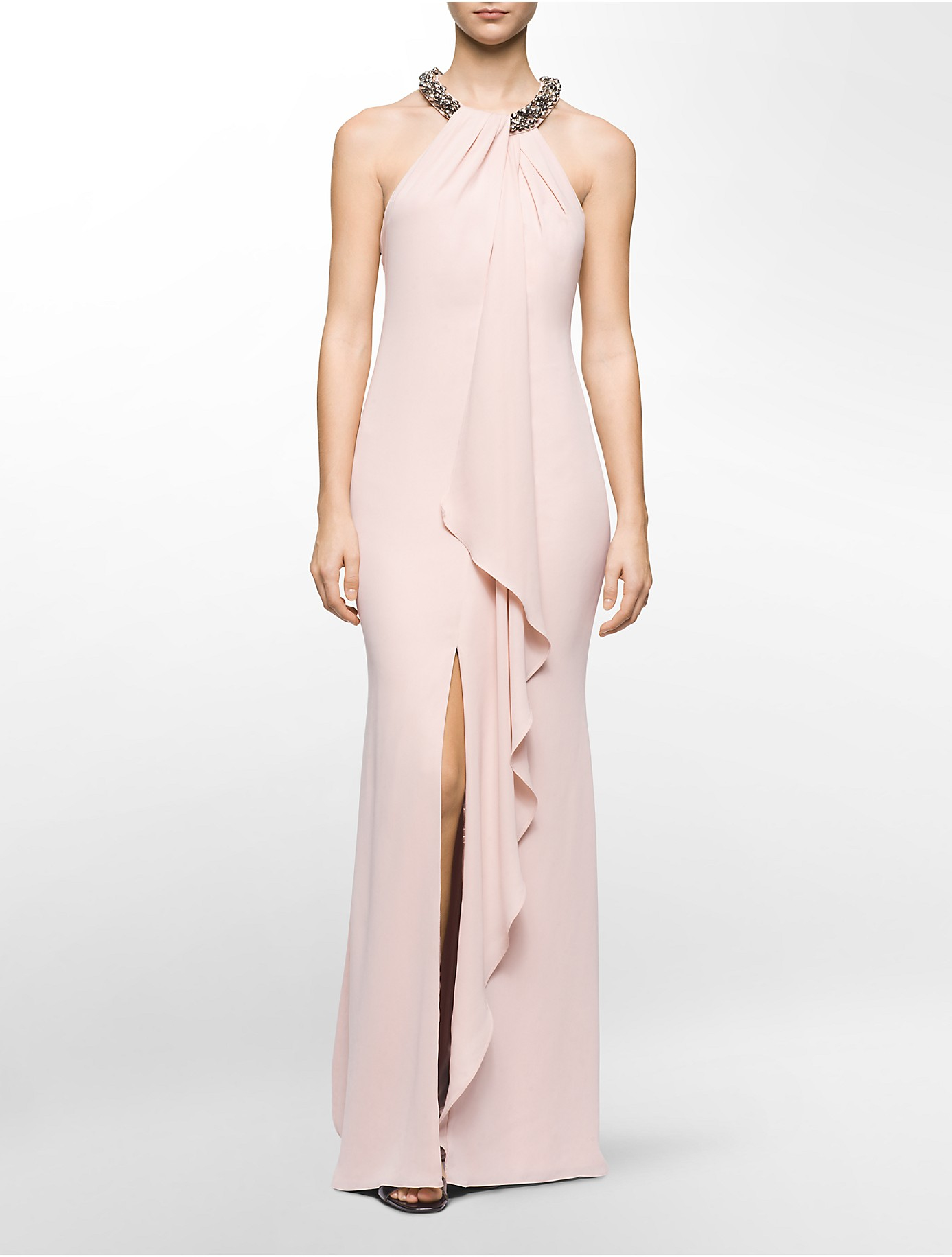 Lyst - Calvin Klein White Label Jeweled Halter Draped Gown in Pink