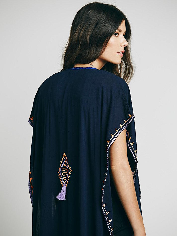 7aeab284428 Lyst - Free People Skemo Womens Embroidered Maxi Poncho in Blue