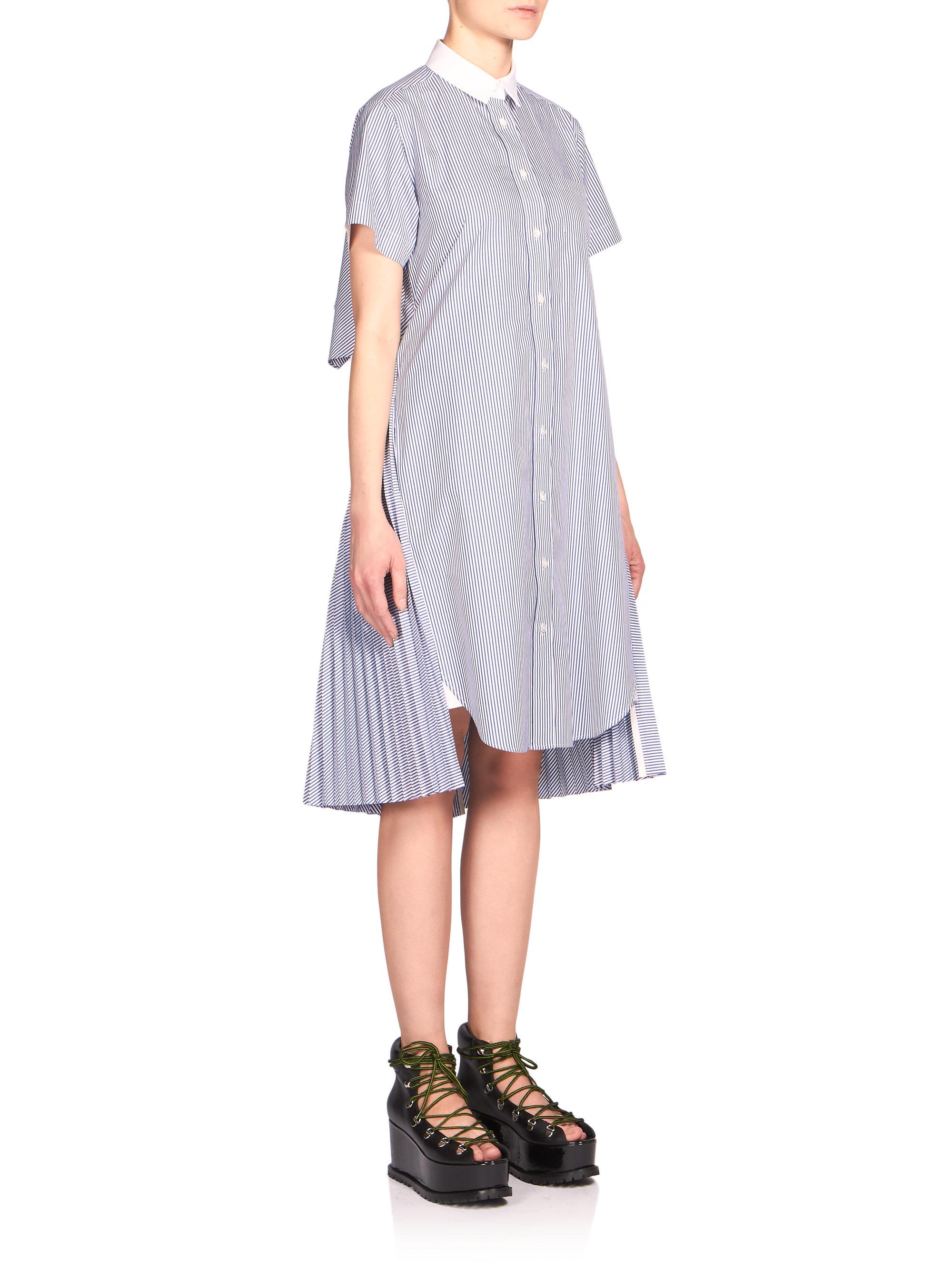 81638b23ea7c5 Lyst - Sacai Striped Cutout Shirtdress in Blue