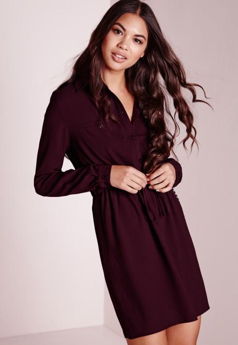 c552760796fd Lyst - Missguided Drawstring Waist Shirt Dress Burgundy in Purple