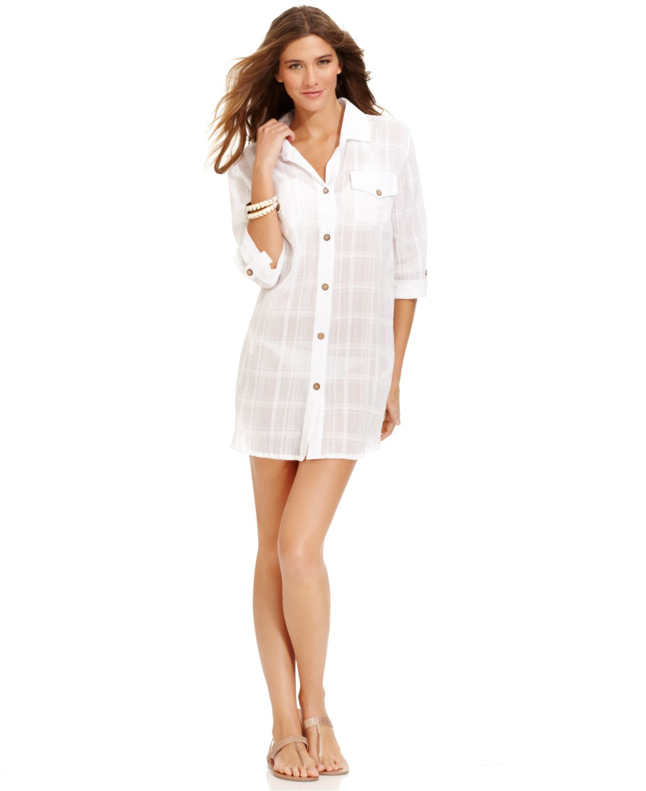 db15a547285 Dotti Buttonfront Shirtdress Coverup in White - Lyst