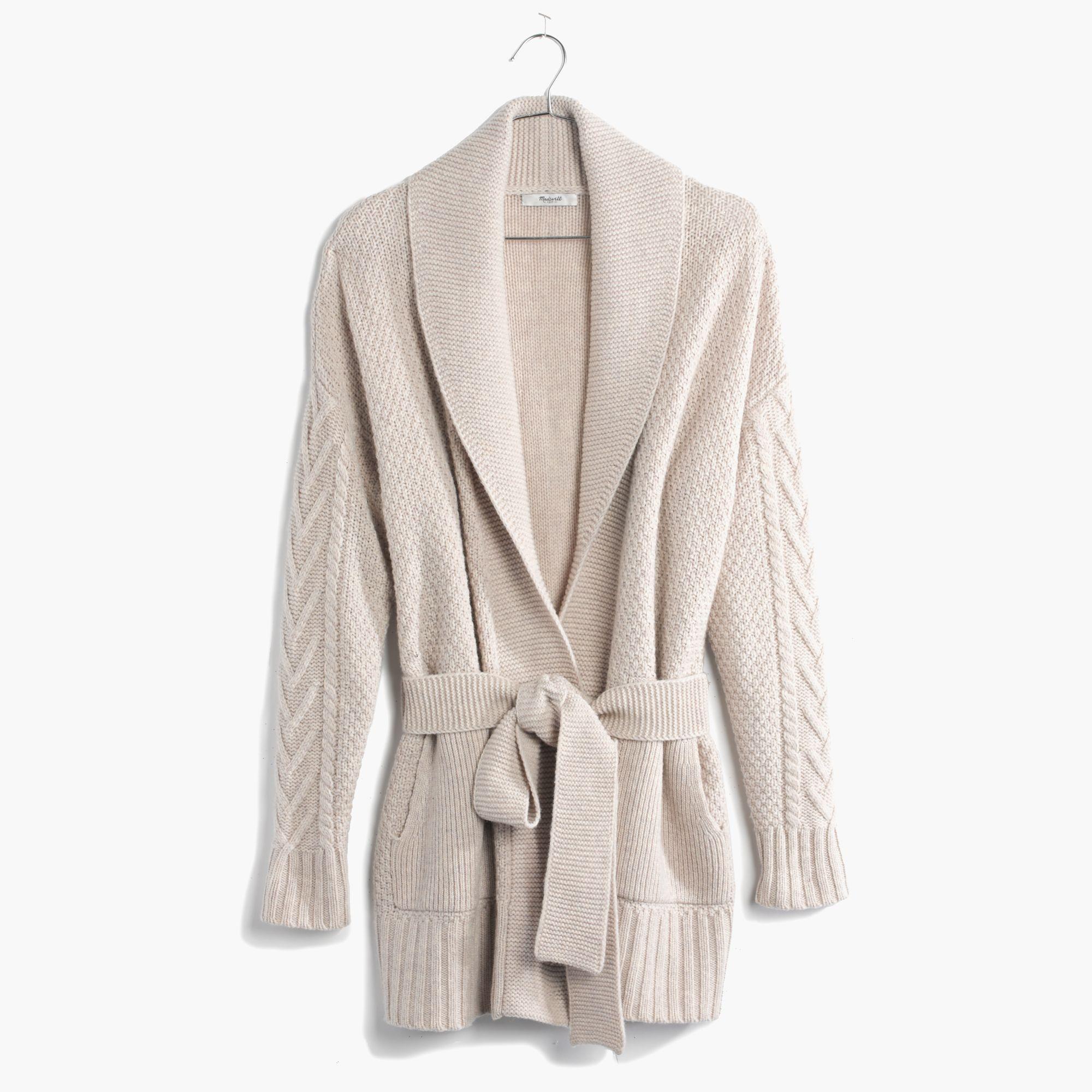 Madewell Shawl-Collar Wrap Cardigan Sweater in Natural | Lyst