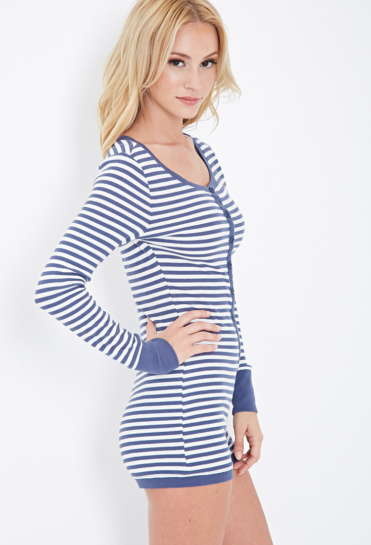Forever 21 Striped Thermal Pj Romper in Blue - Lyst 3c4bed6d7