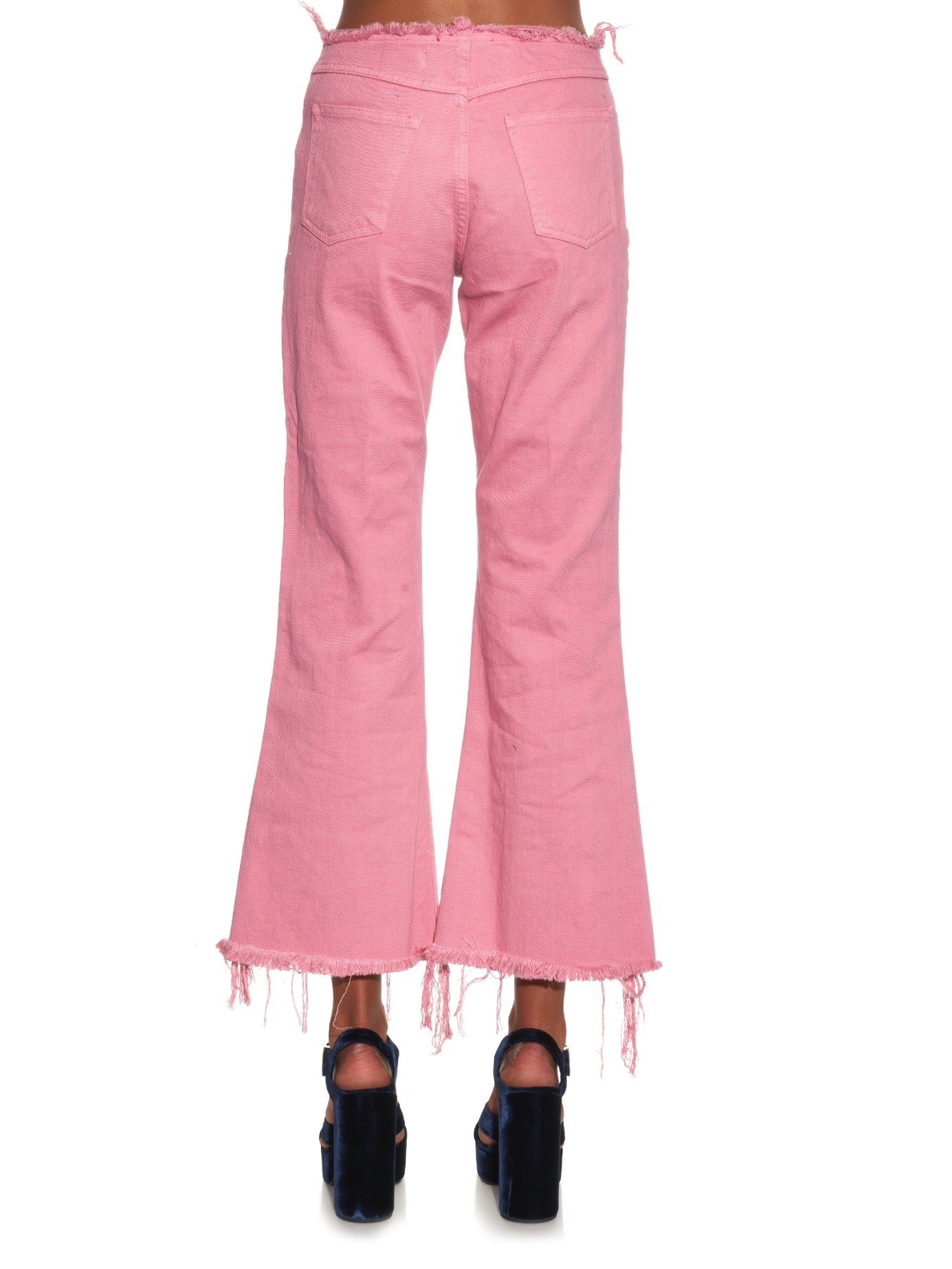 Marques'almeida Capri Frayed-edge Flared Jeans in Pink | Lyst