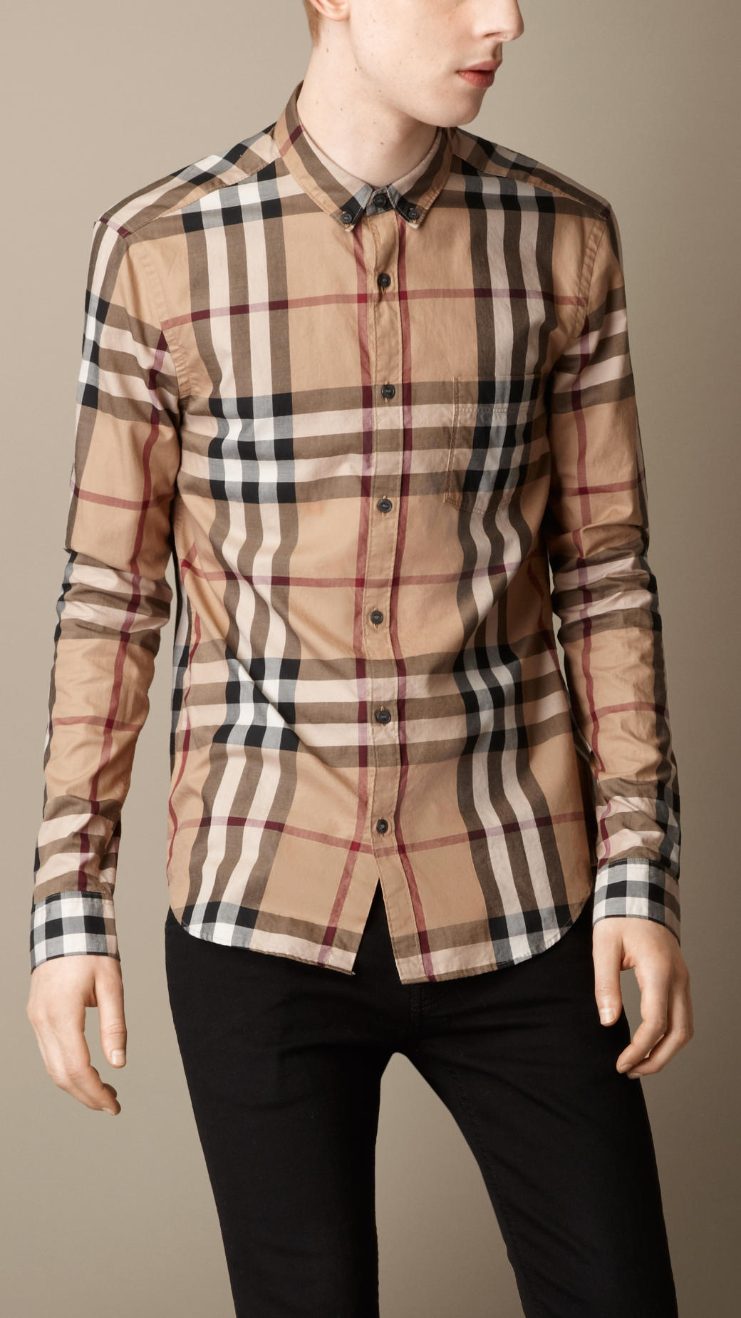 Burberry exploded check cotton shirt in beige for men for Where are burberry shirts made
