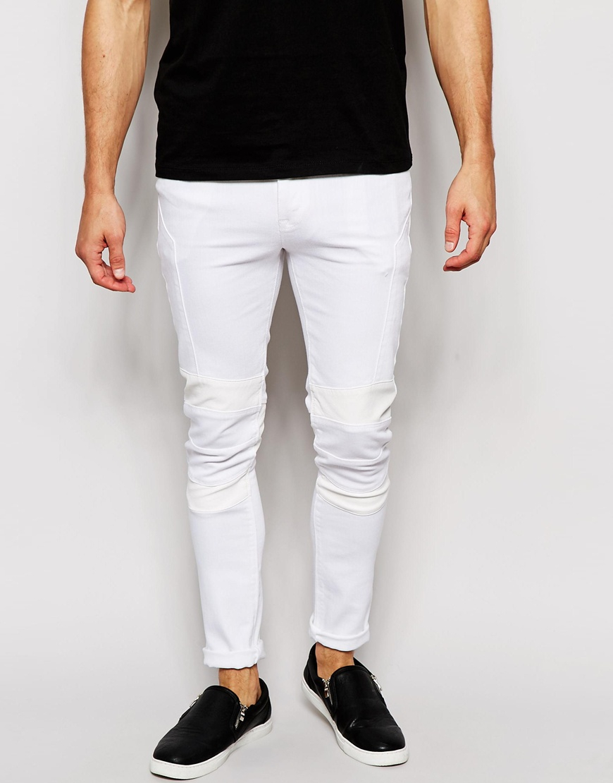 asos super skinny jeans with biker details in white in. Black Bedroom Furniture Sets. Home Design Ideas
