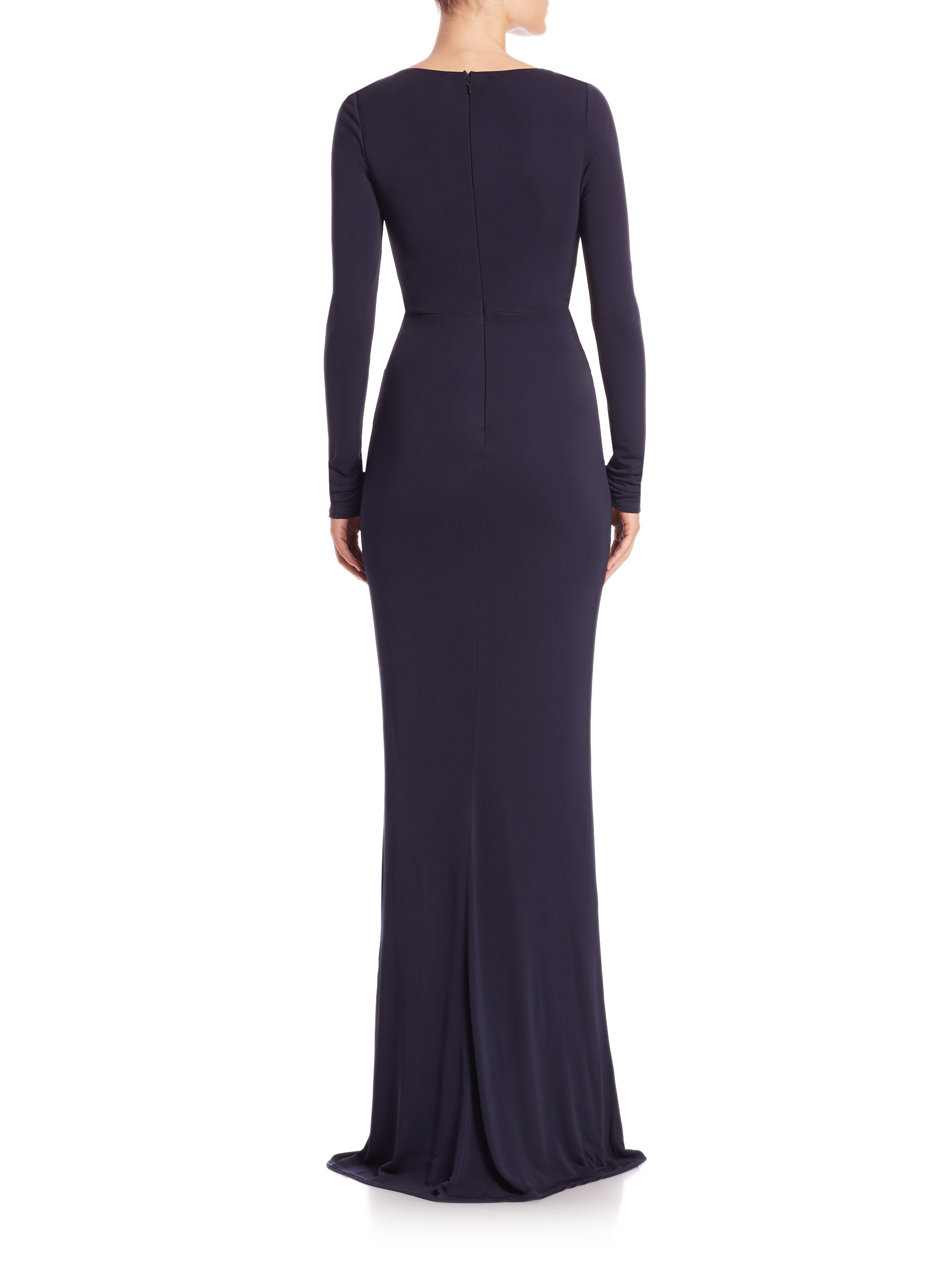 ec6fb9fc83f David Meister Cowl-Neck Jersey Gown in Blue - Lyst