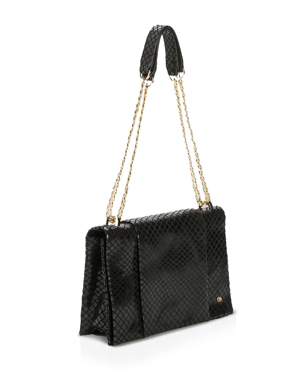 0833c8588c35 Lyst - Halston Shoulder Bag - Embossed Convertible Chain Handle in Black