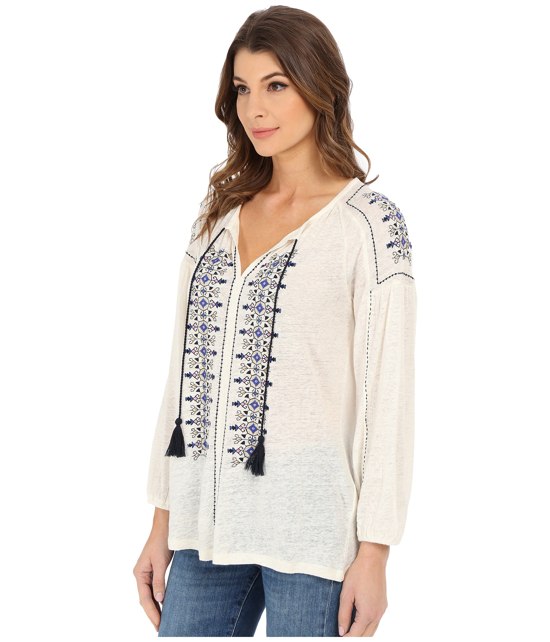 434cb5a7f7a182 Lucky Brand Embroidered Peasant Top in White - Lyst