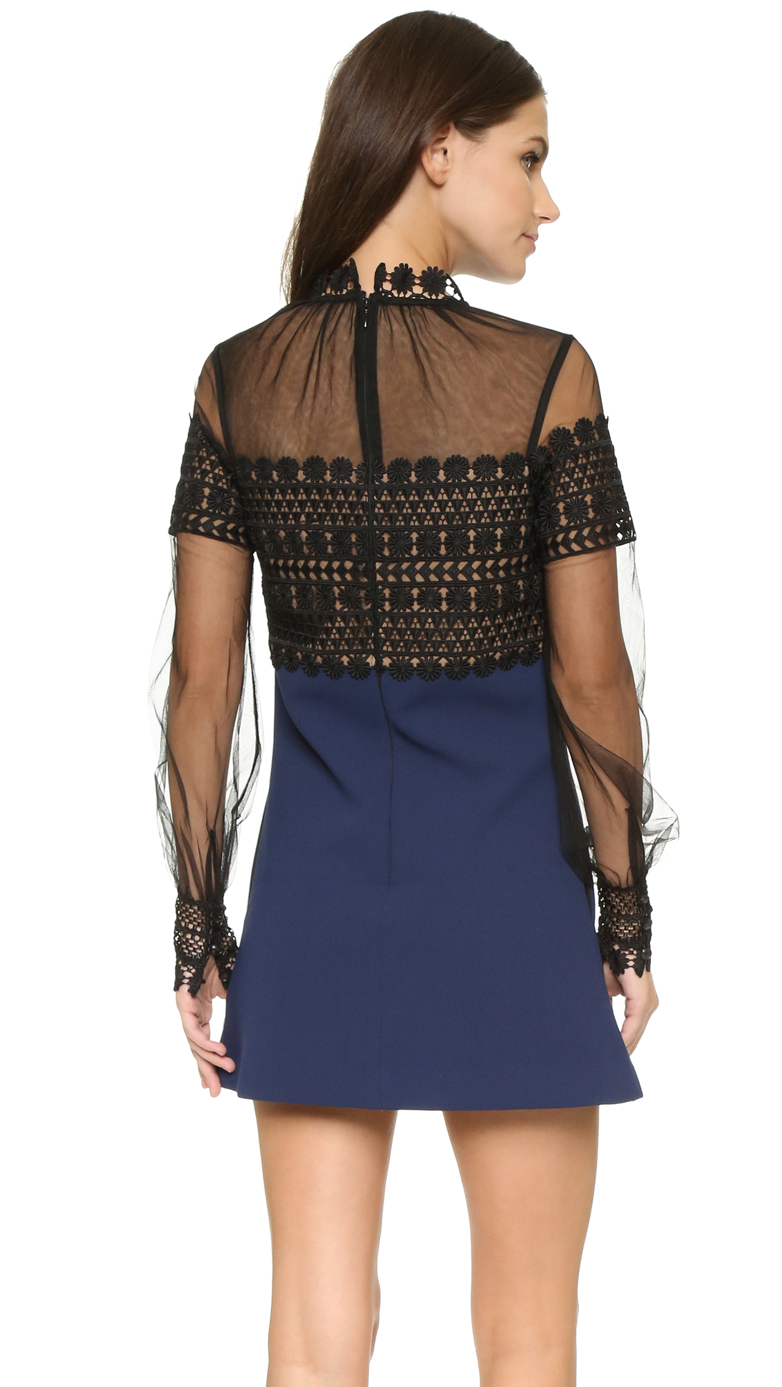9f2de9fd7ed5 Self-Portrait Tulle Lace and Crepe-Blend Mini Dress in Black - Lyst