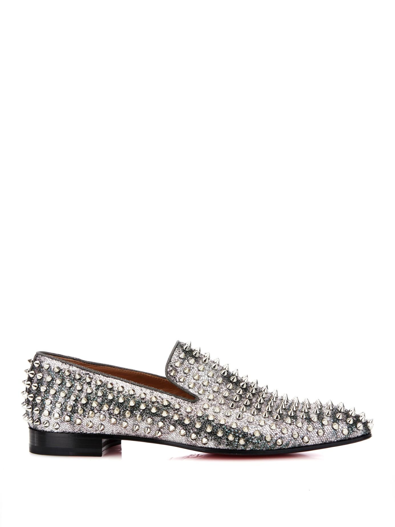 8d0b2859320 Lyst - Christian Louboutin Dandelion Studded Glitter Loafers in ...
