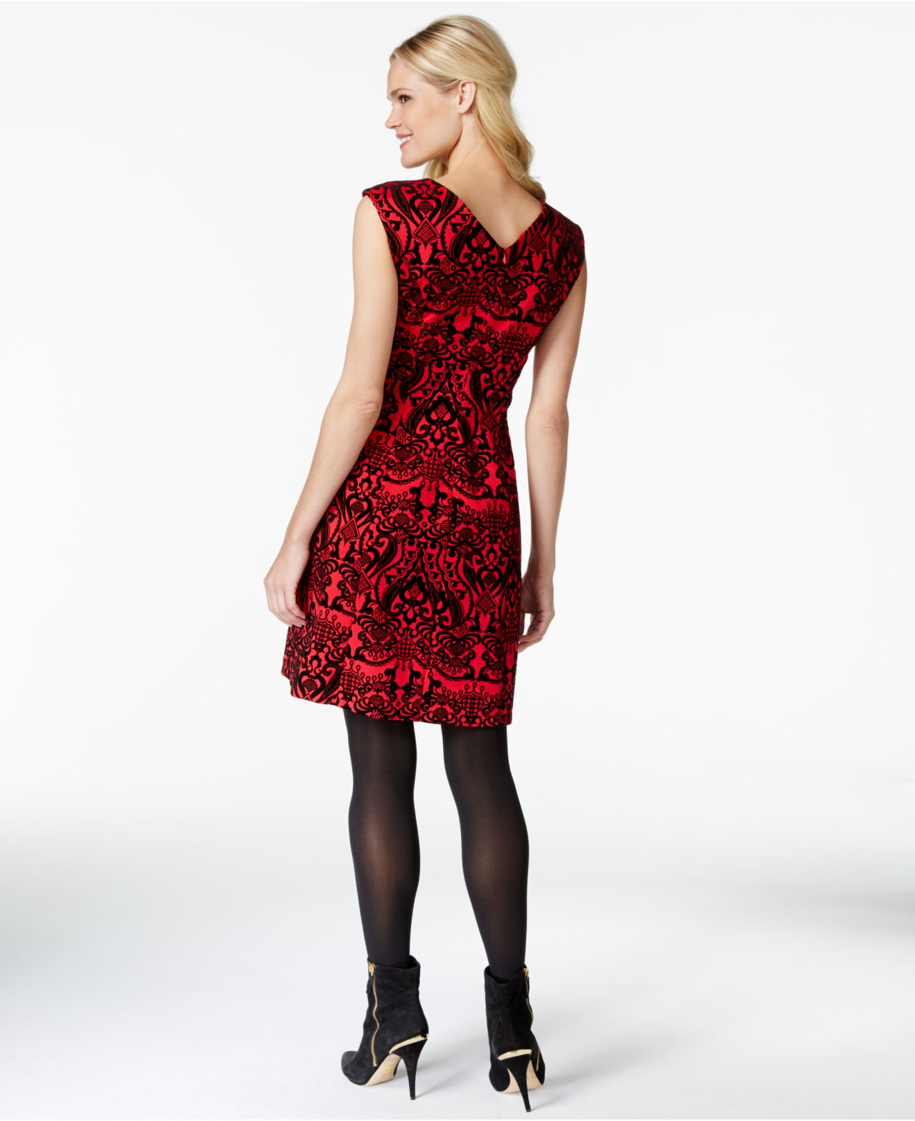 Eci Embellished Damask-print Dress in Red  Lyst