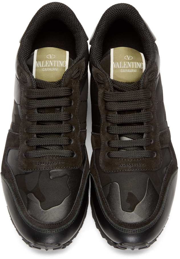 lyst valentino black leather and canvas camo sneakers in. Black Bedroom Furniture Sets. Home Design Ideas
