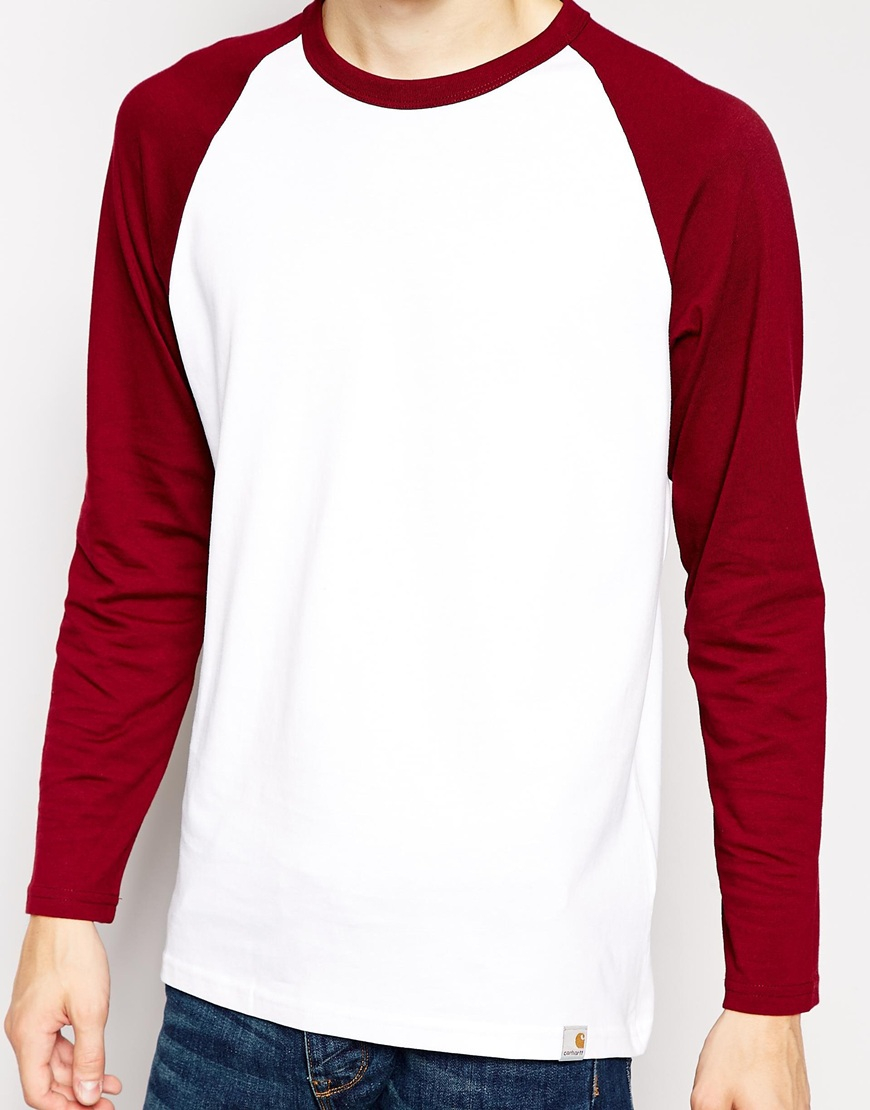 Lyst carhartt dodgers long sleeve t shirt in red for men for Carhartt long sleeve t shirts white