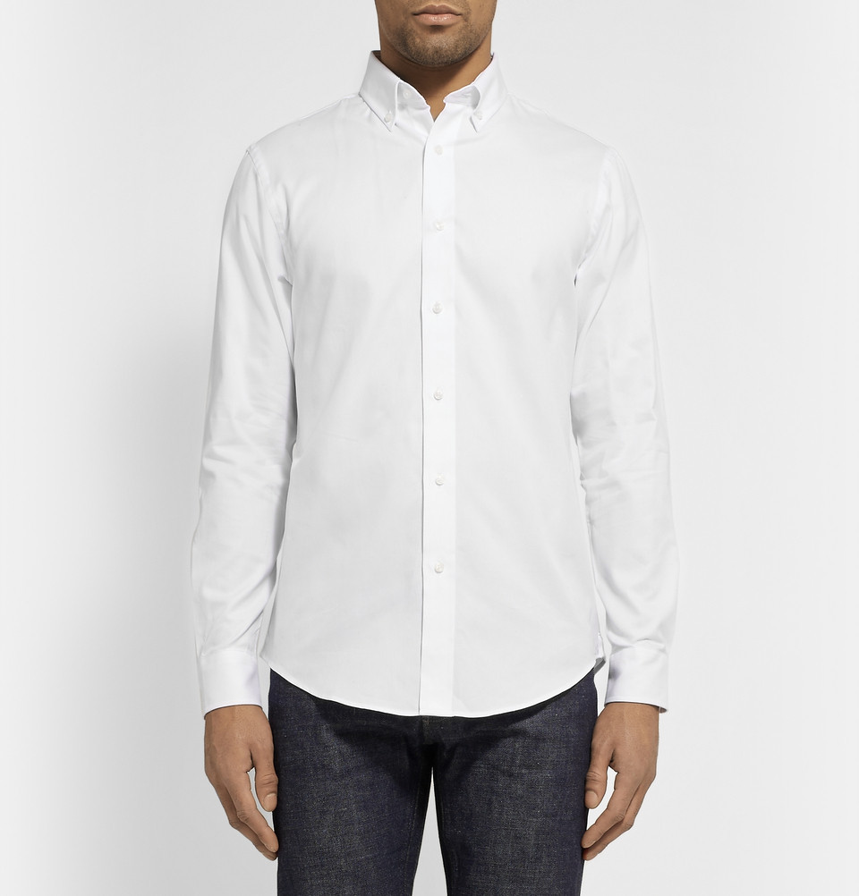 Lyst club monaco button down collar cotton oxford shirt for White button down collar oxford shirt