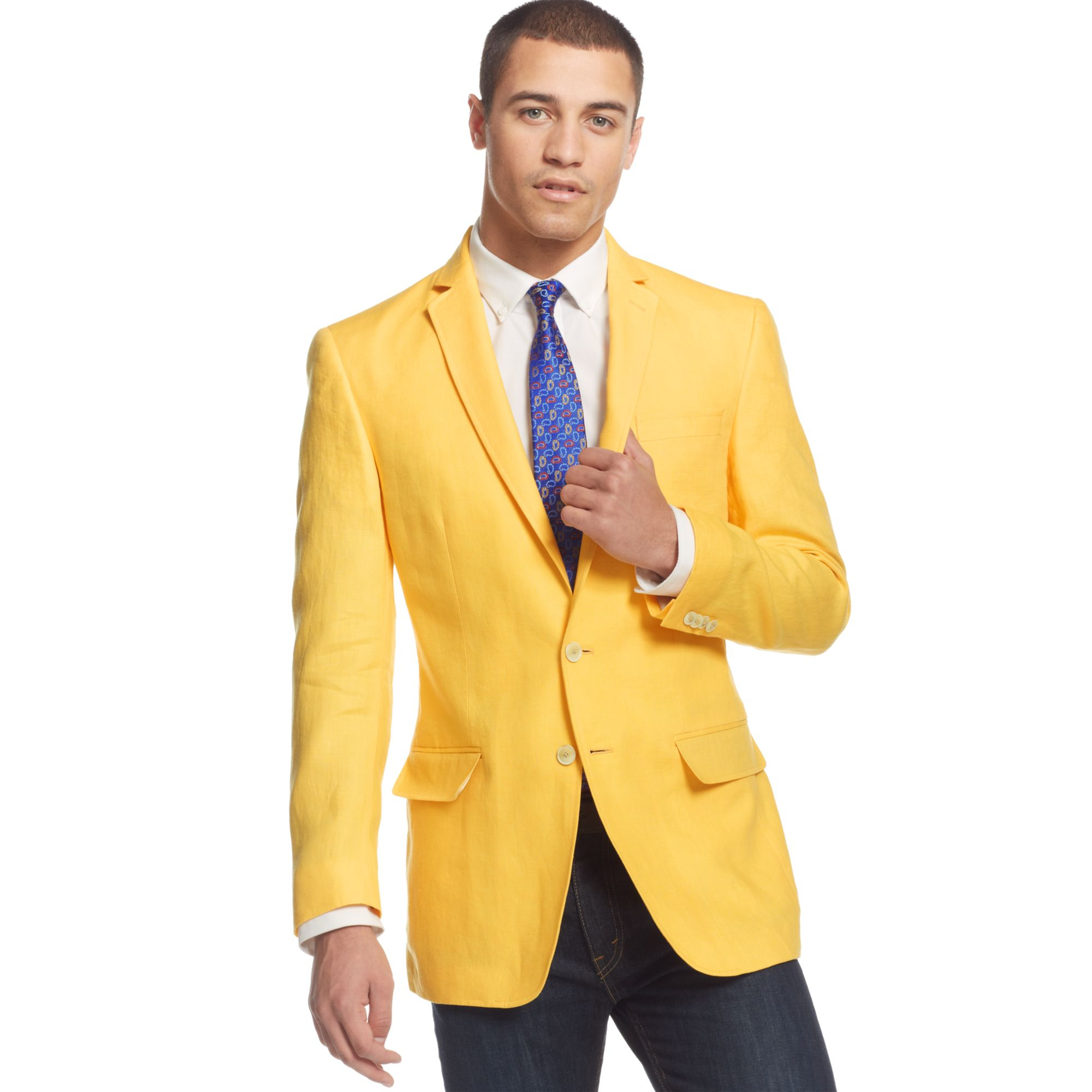Sean john Color Linen Sport Coat in Yellow for Men | Lyst