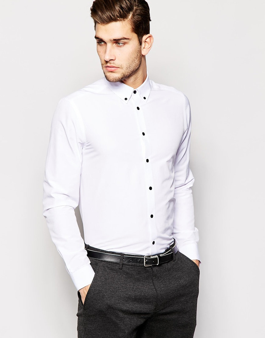 19c54a1628f4 ASOS Smart Shirt In Long Sleeve With Button Down Collar And Contrast ...