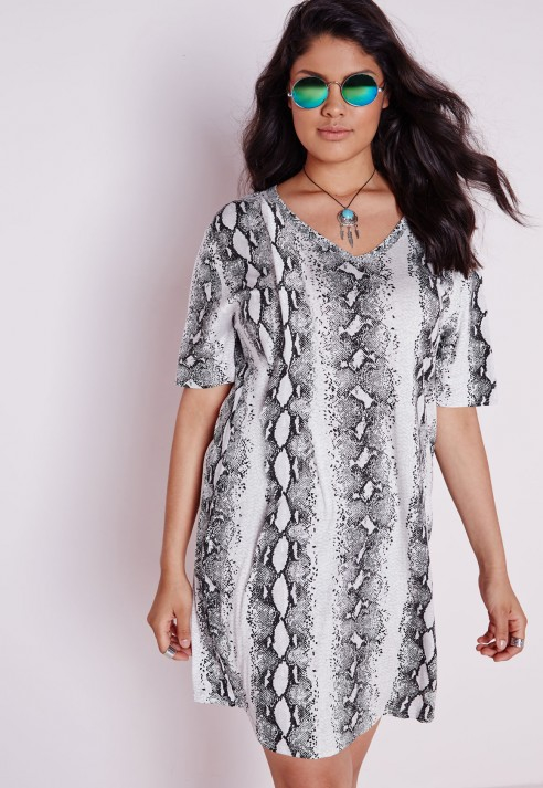 Lyst Missguided Plus Size Snake Print Dress Grey