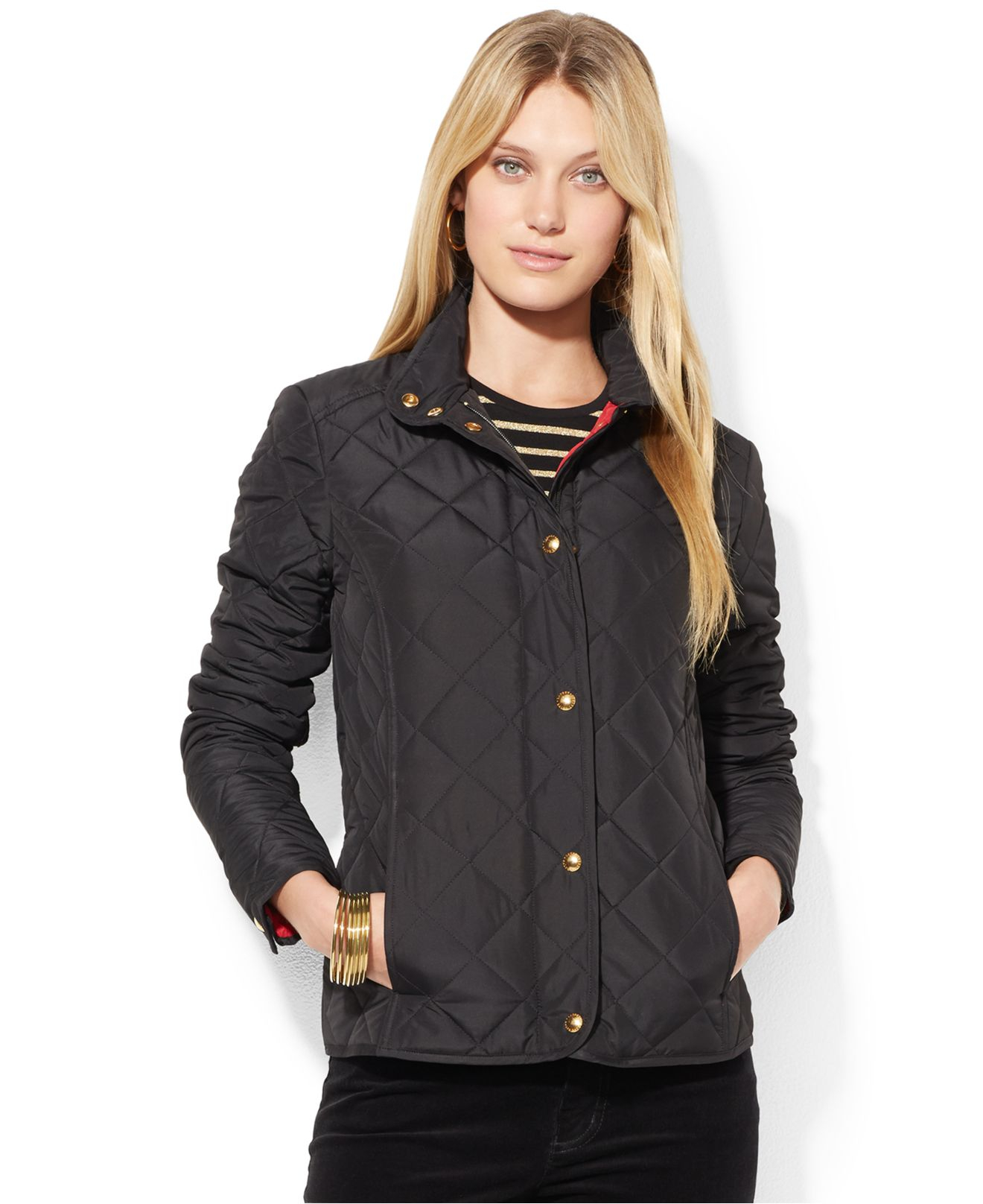 Lauren by ralph lauren Petite Quilted Zip-Front Jacket in Black | Lyst