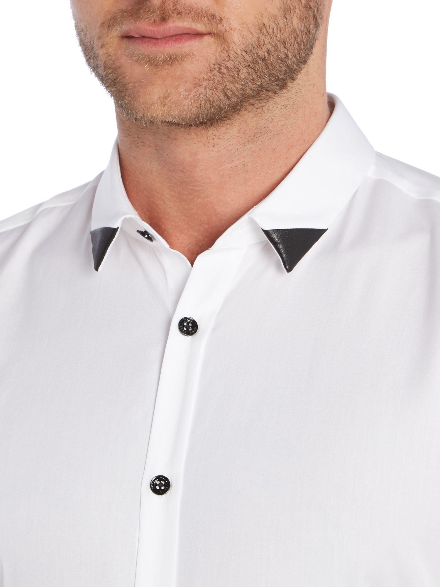 lyst hugo plain slim fit long sleeve classic collar. Black Bedroom Furniture Sets. Home Design Ideas