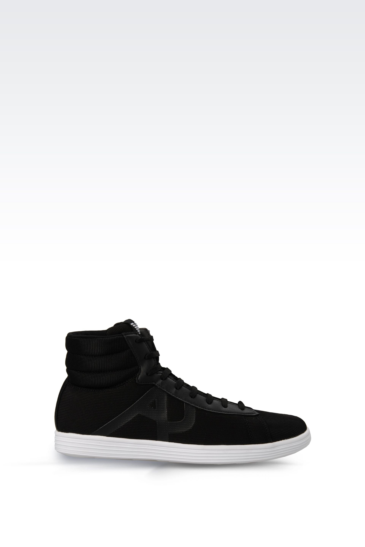 armani jeans hightop sneaker in nylon mesh with logo in black for men lyst. Black Bedroom Furniture Sets. Home Design Ideas