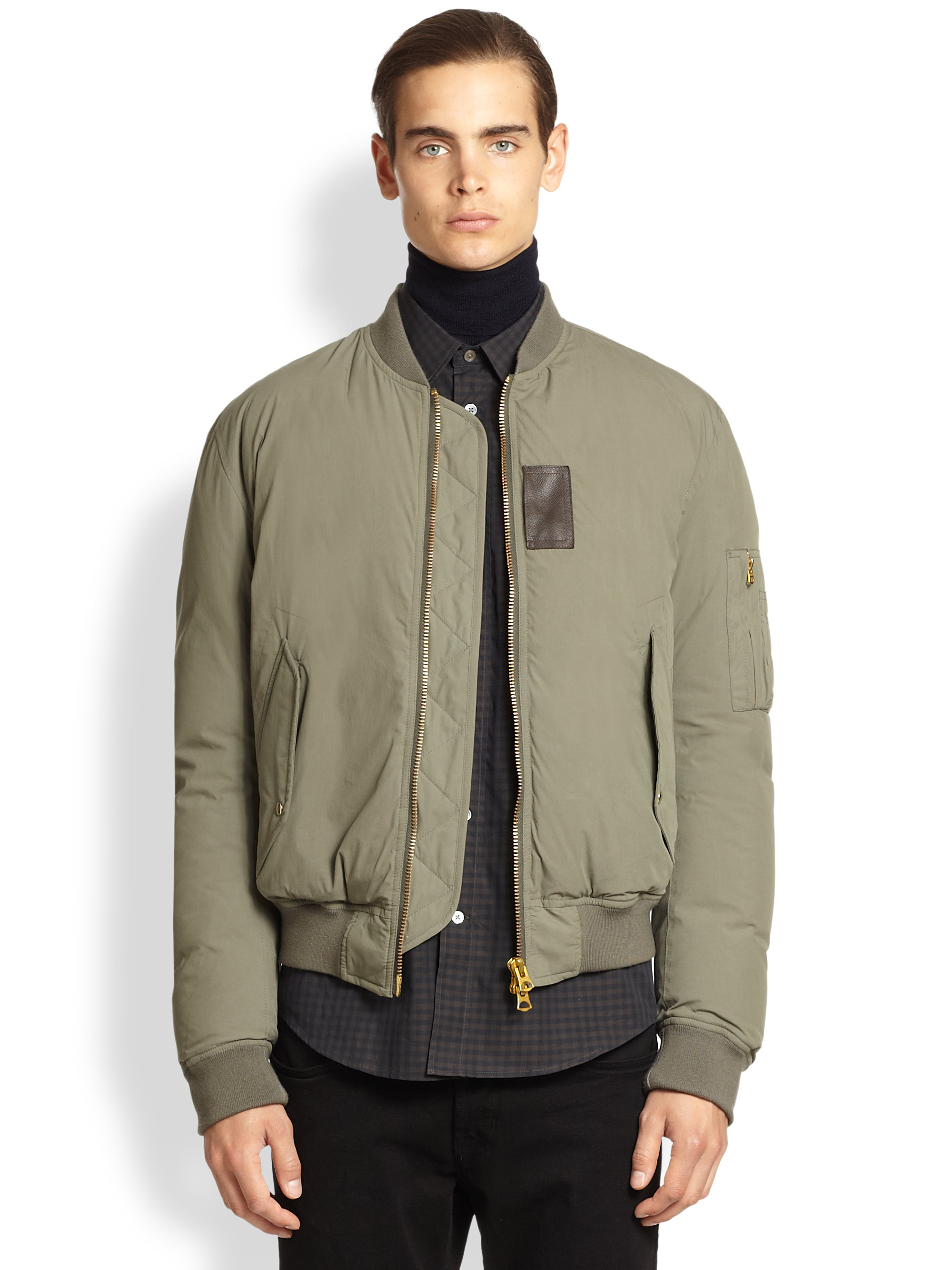 Acne Studios Stretch Cotton Bomber Jacket In Green For Men
