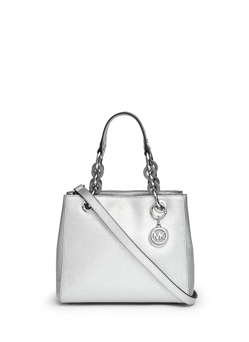 d0fac9b351e01 ... cheap lyst michael kors cynthia small saffiano leather satchel in  metallic 32ca9 786f1