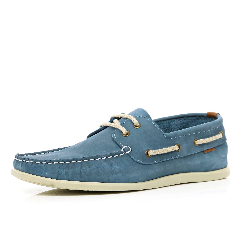 River Island Light Blue Boat Shoes For Men