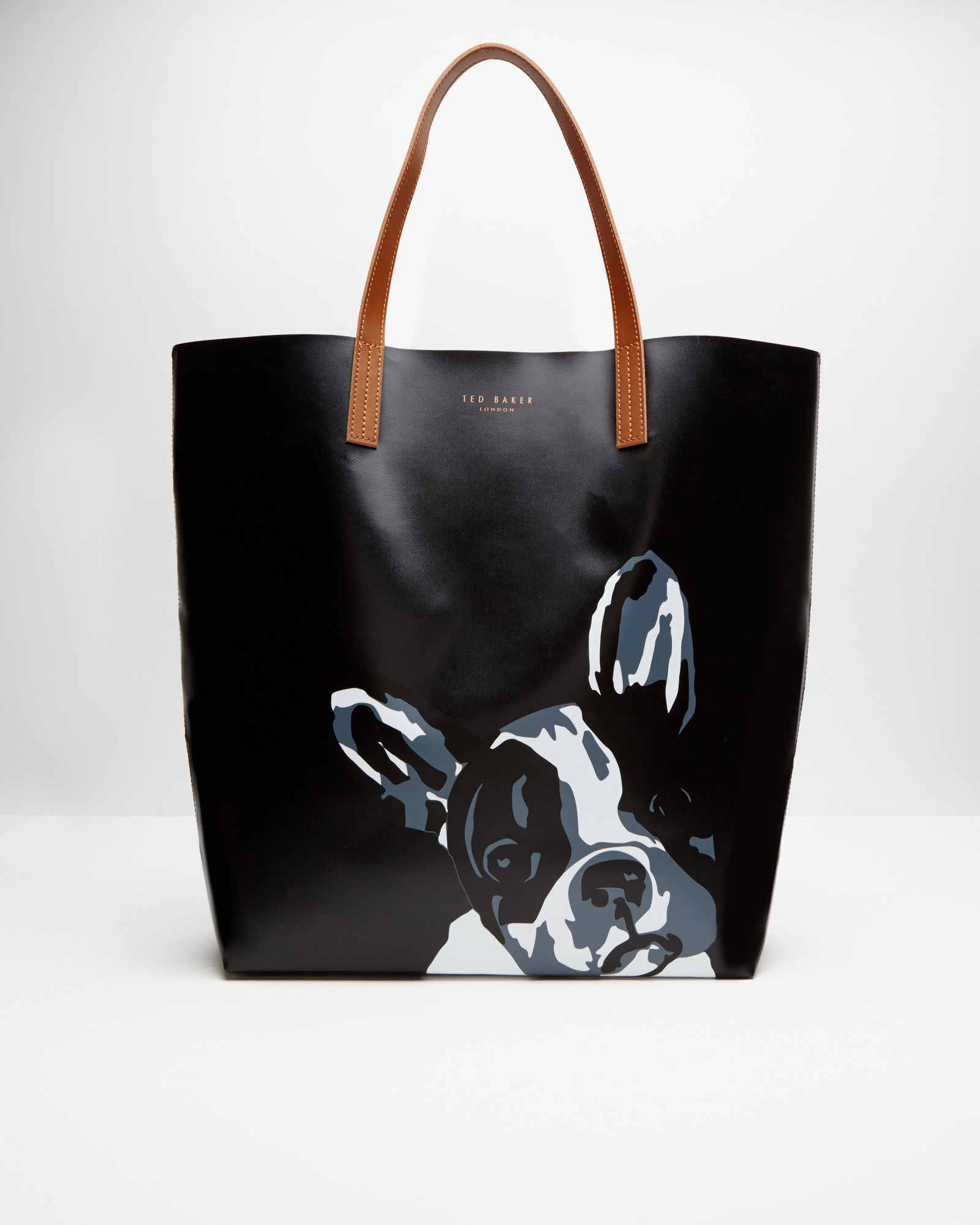 bulldog bags ted baker french bulldog print shopper bag in black lyst 3564