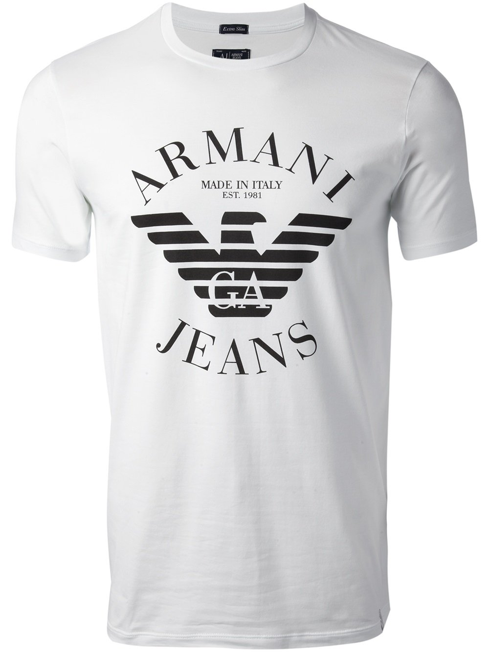 armani jeans logo tshirt in white for men lyst. Black Bedroom Furniture Sets. Home Design Ideas