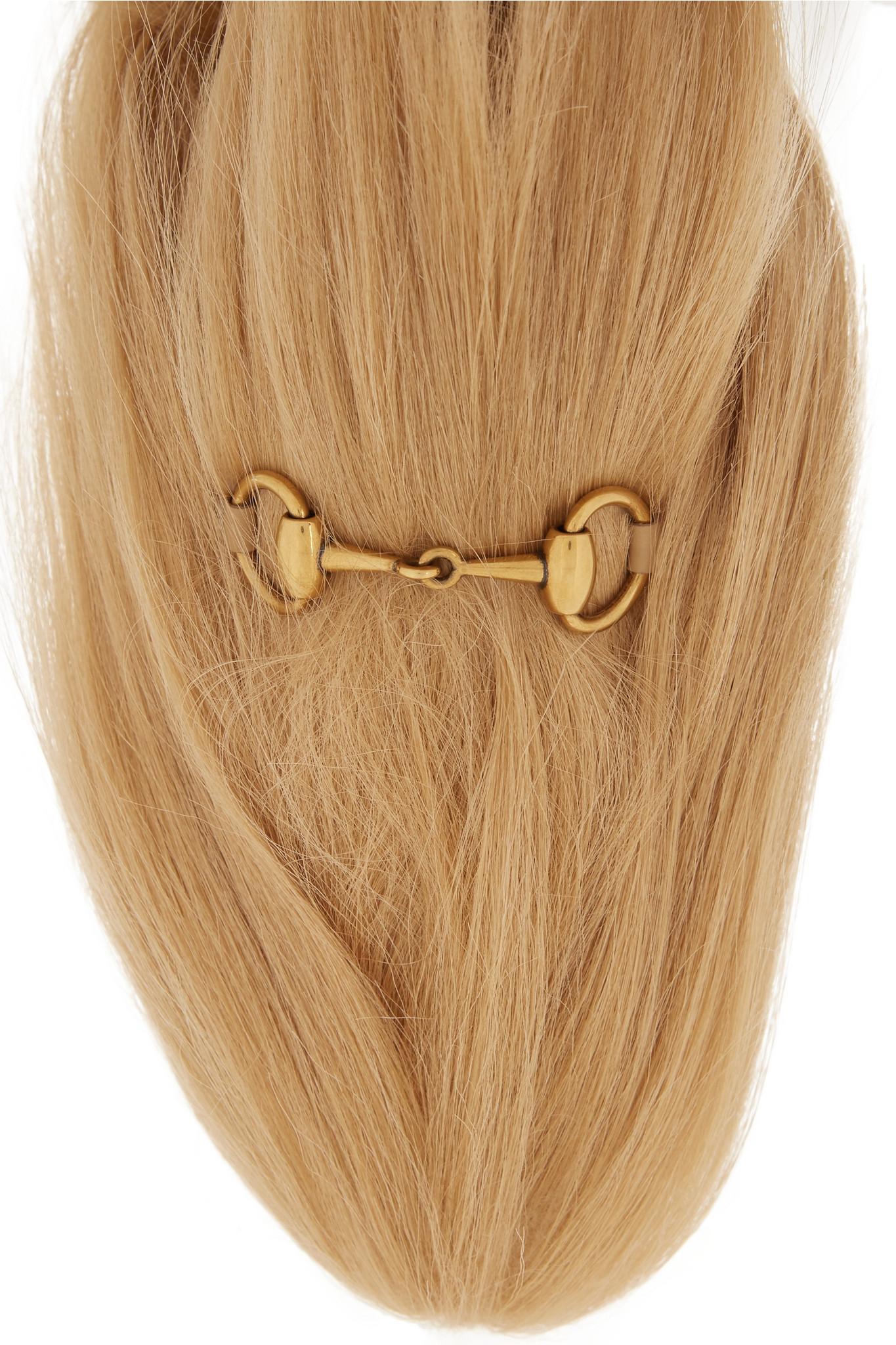 6a2e2e445d08 Lyst - Gucci Horsebit-detailed Goat Hair Slippers in Natural