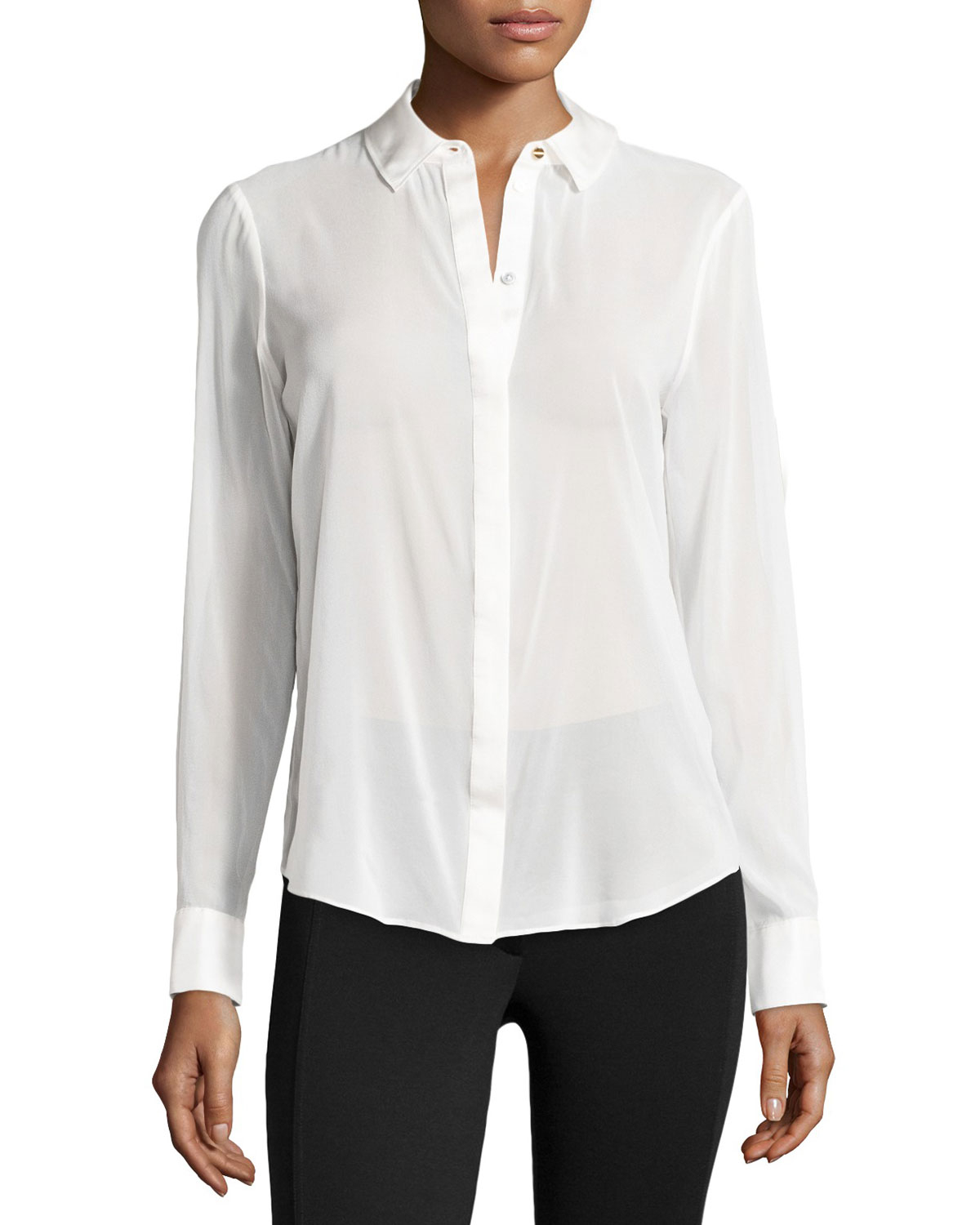 White Sheer Silk Blouse 17