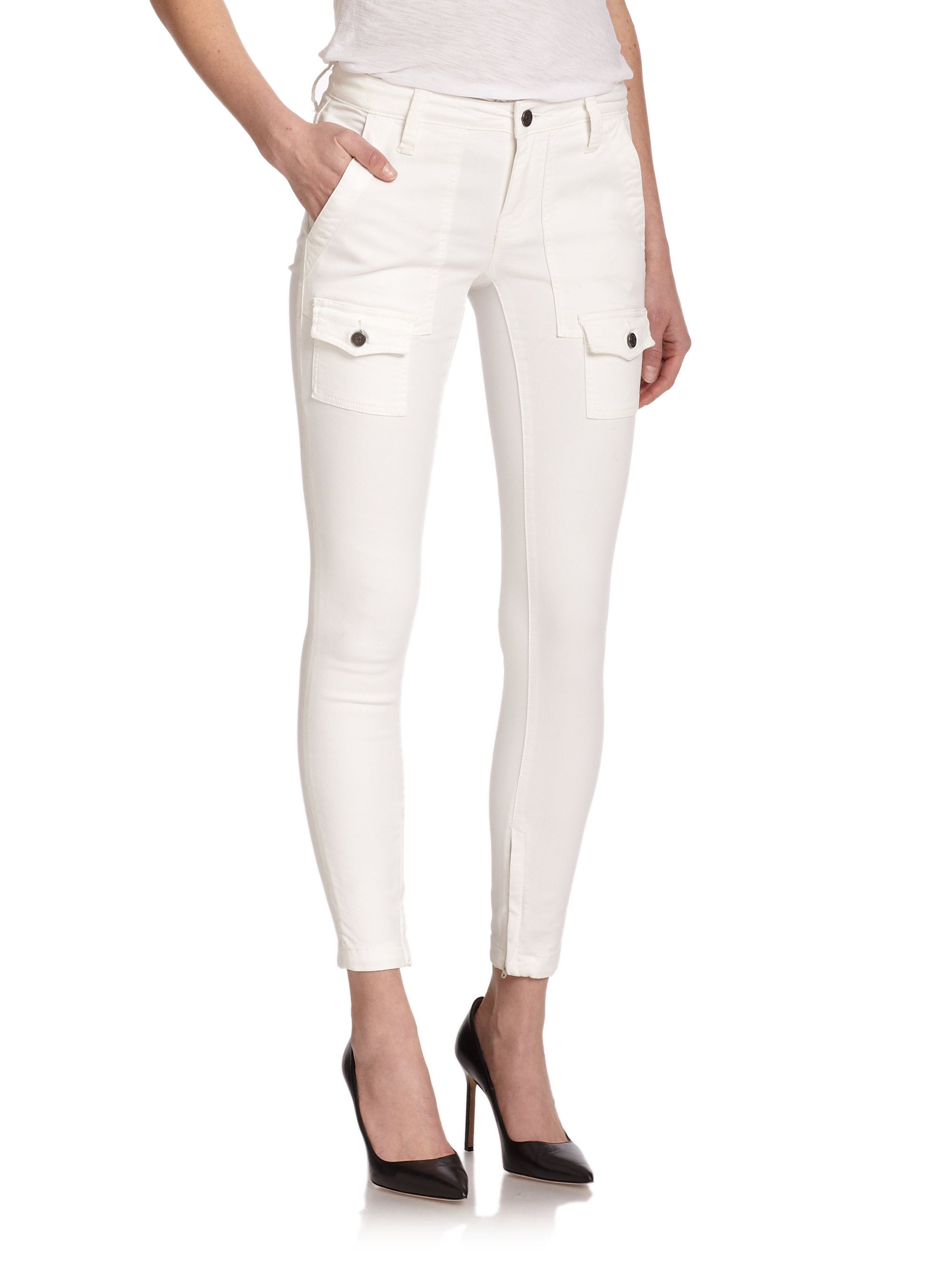 Joie So Real Skinny Cargo Pants in White | Lyst