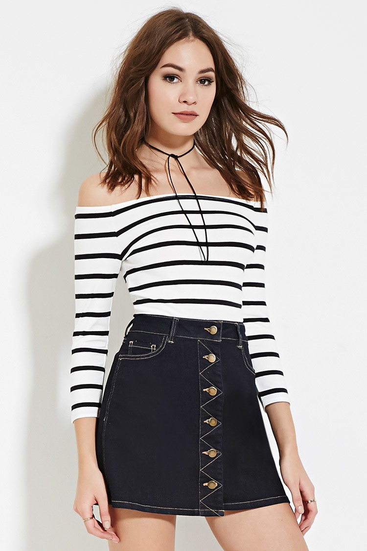 f5f77704b7a2ce Forever 21 Striped Off-the-shoulder Top in White - Lyst