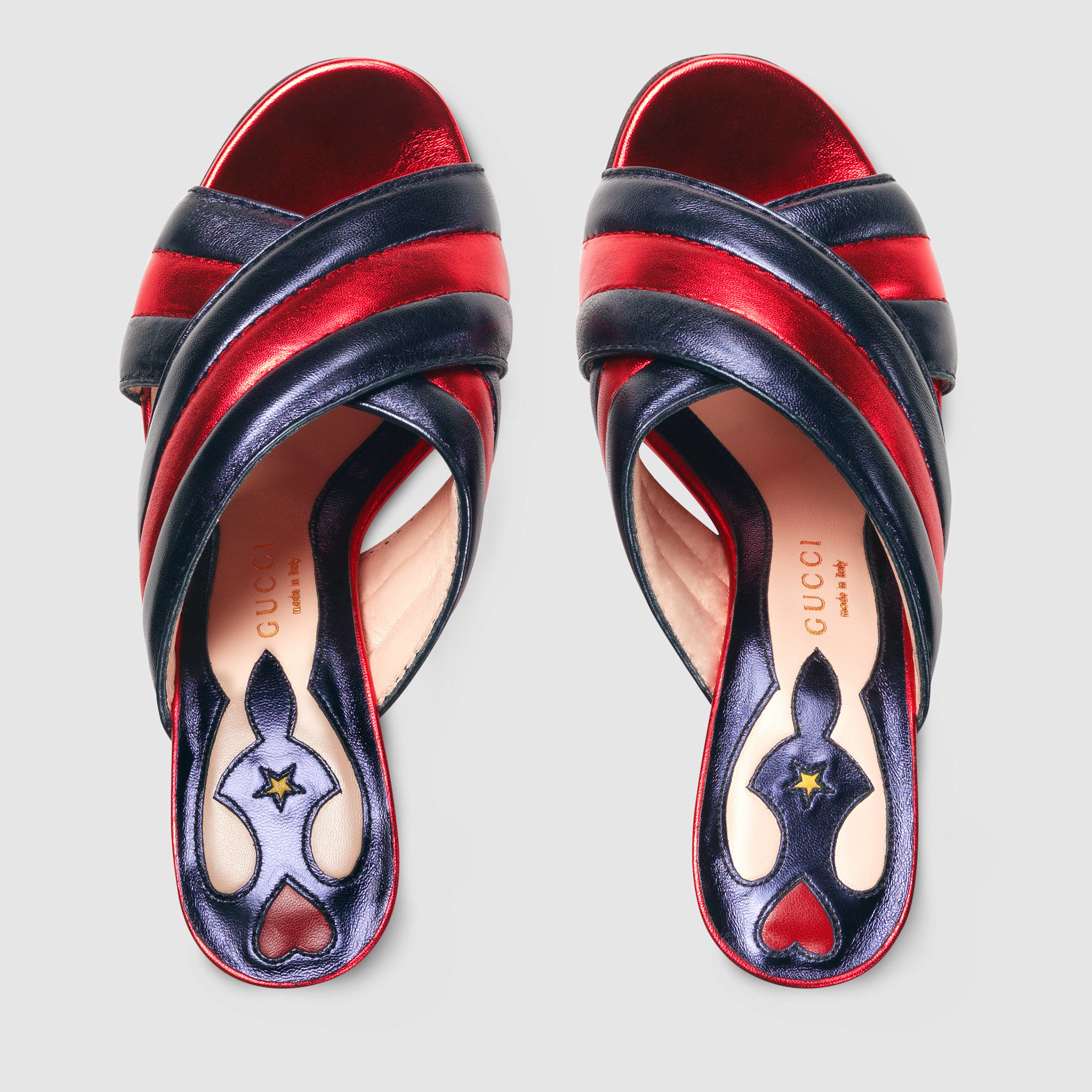 06ec80609f2 Gucci Metallic Leather Crossover Sandal in Blue - Lyst