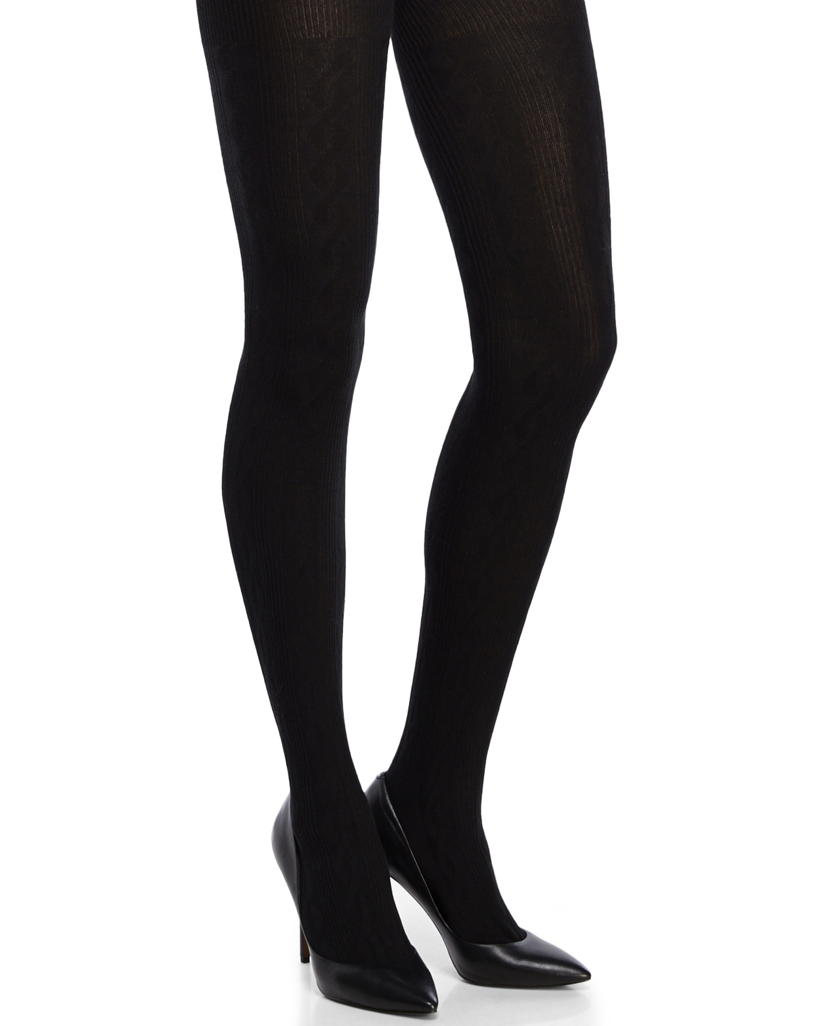 Lyst Hue Cable Knit Sweater Tights In Black